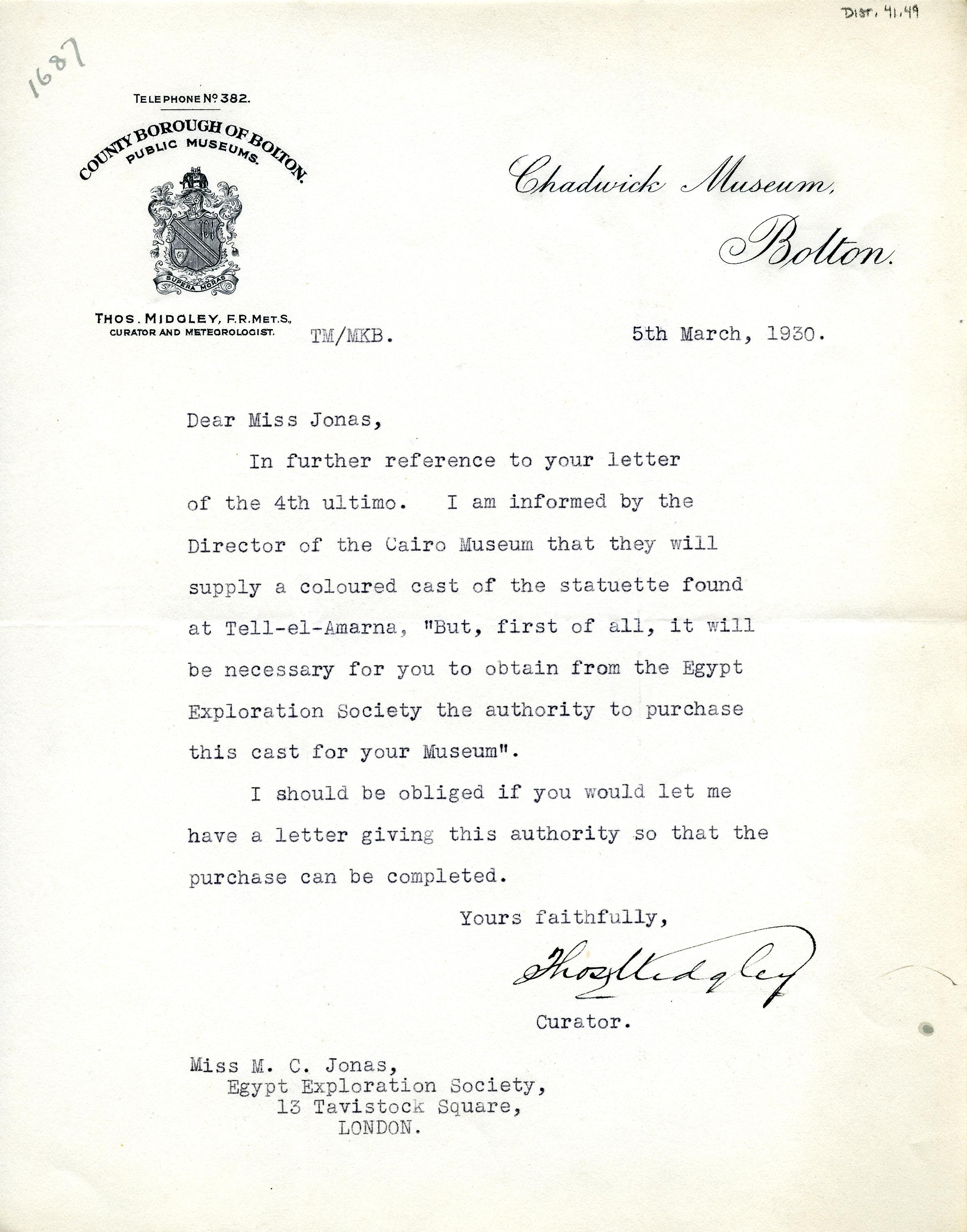 1922-76 Miscellaneous correspondence with museums DIST.41.49