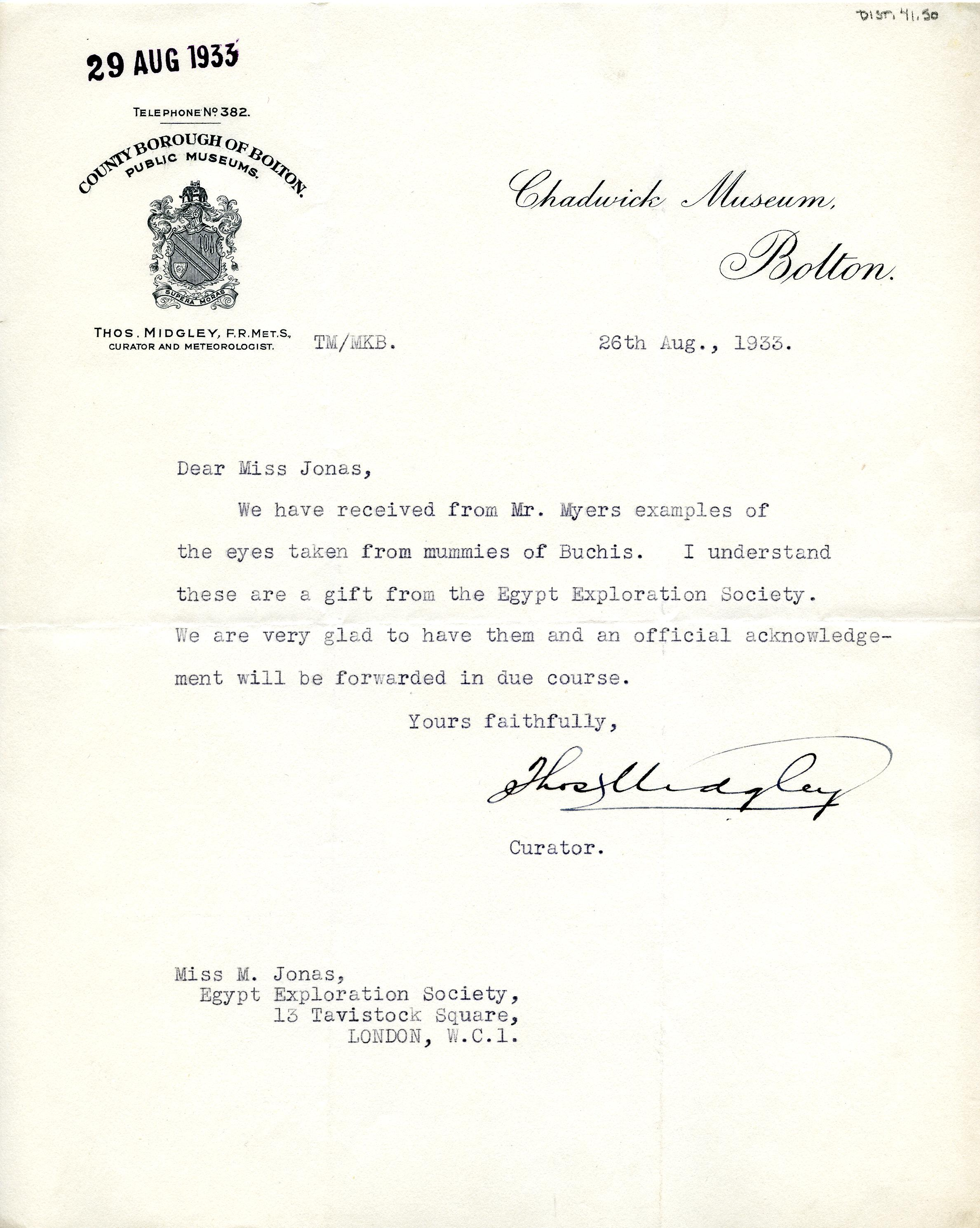 1922-76 Miscellaneous correspondence with museums DIST.41.50