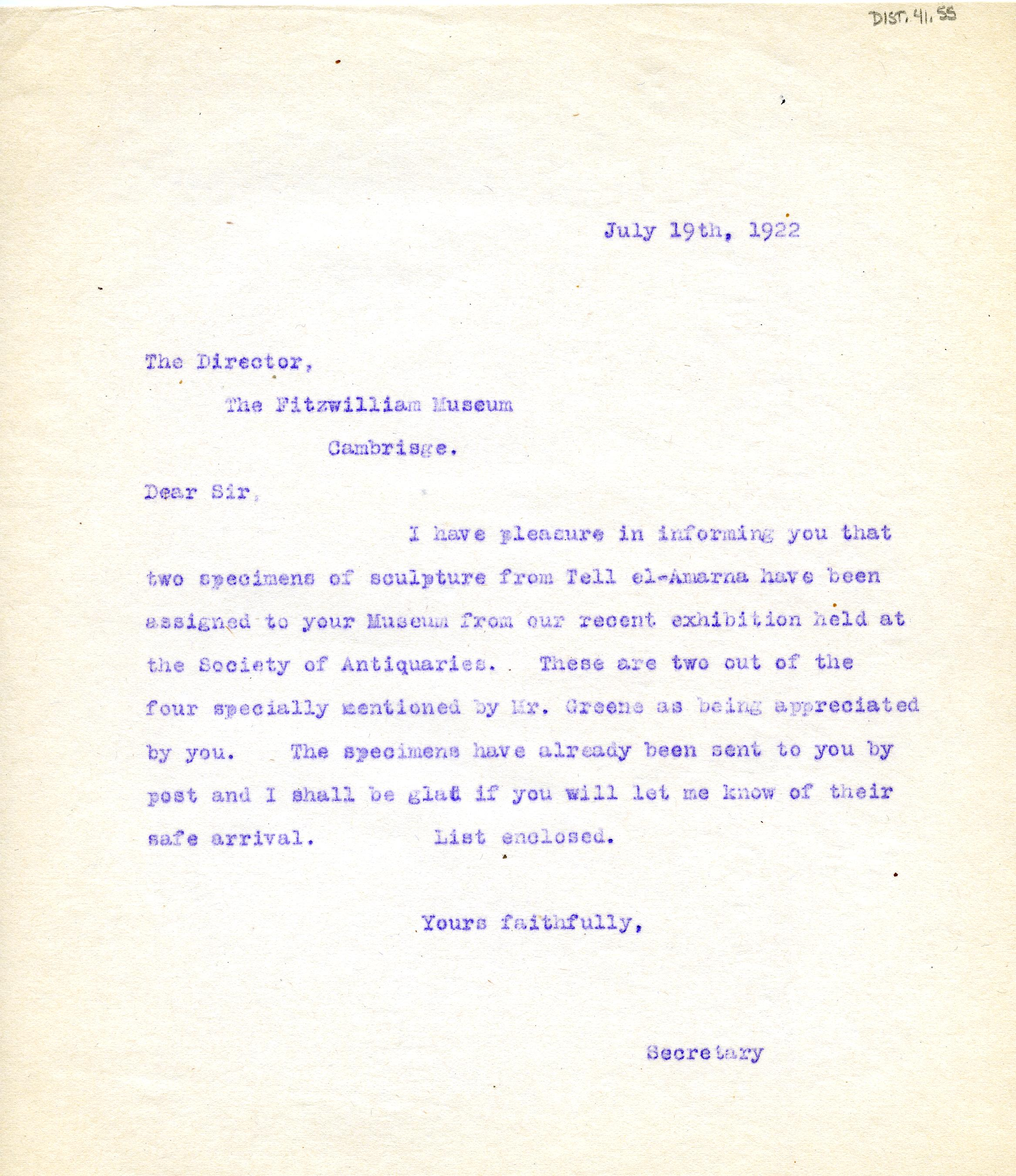 1922-76 Miscellaneous correspondence with museums DIST.41.55