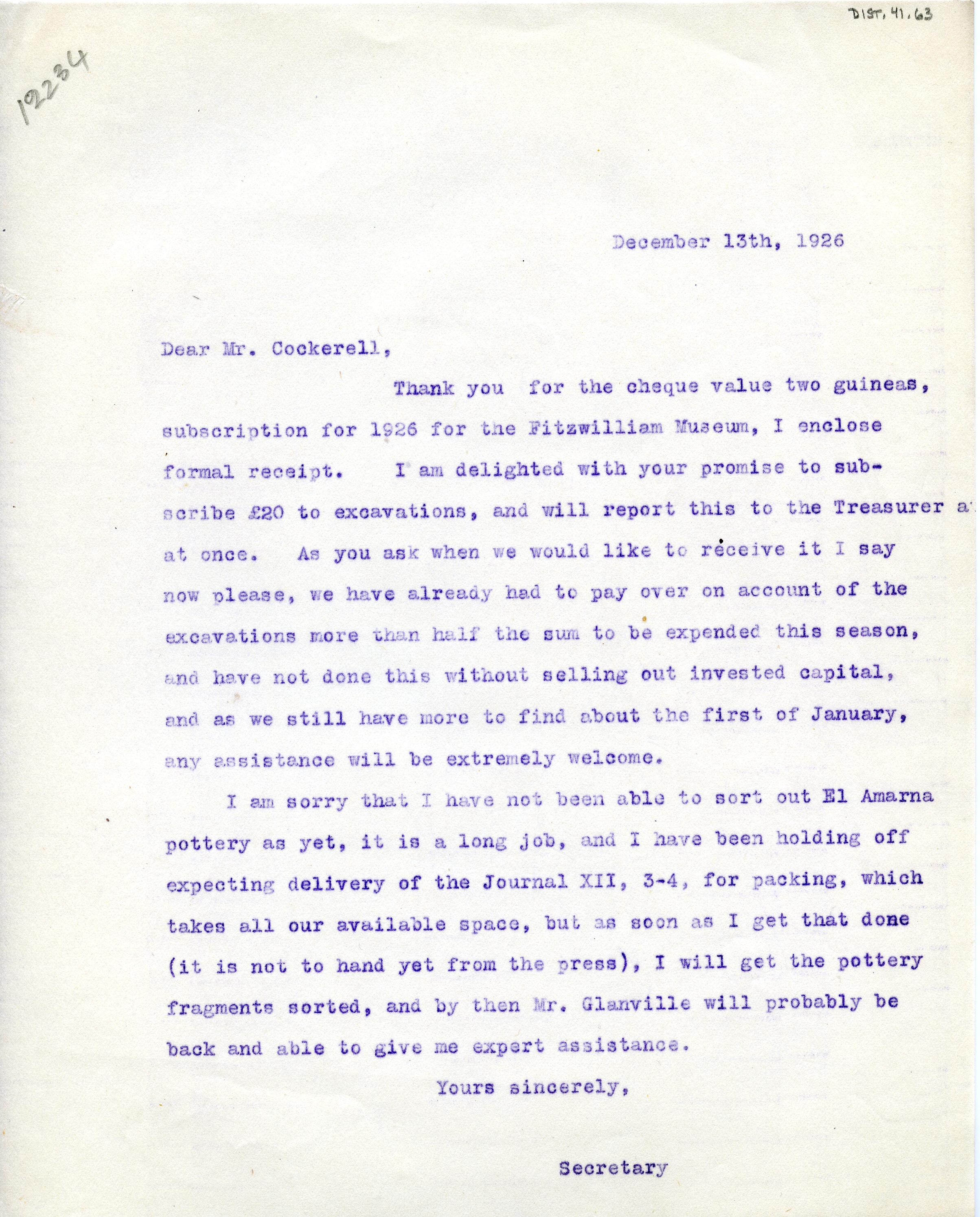 1922-76 Miscellaneous correspondence with museums DIST.41.63