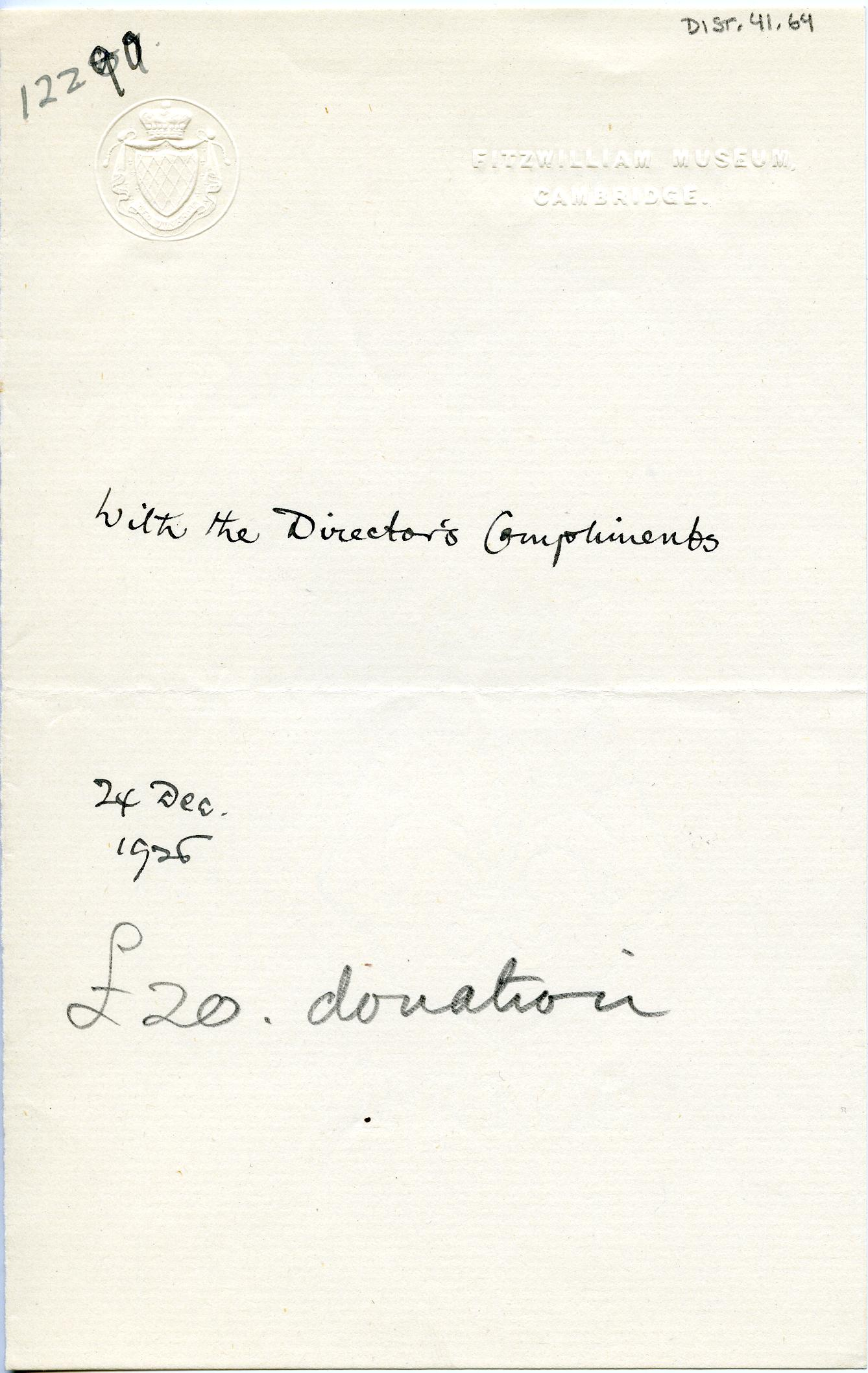 1922-76 Miscellaneous correspondence with museums DIST.41.64