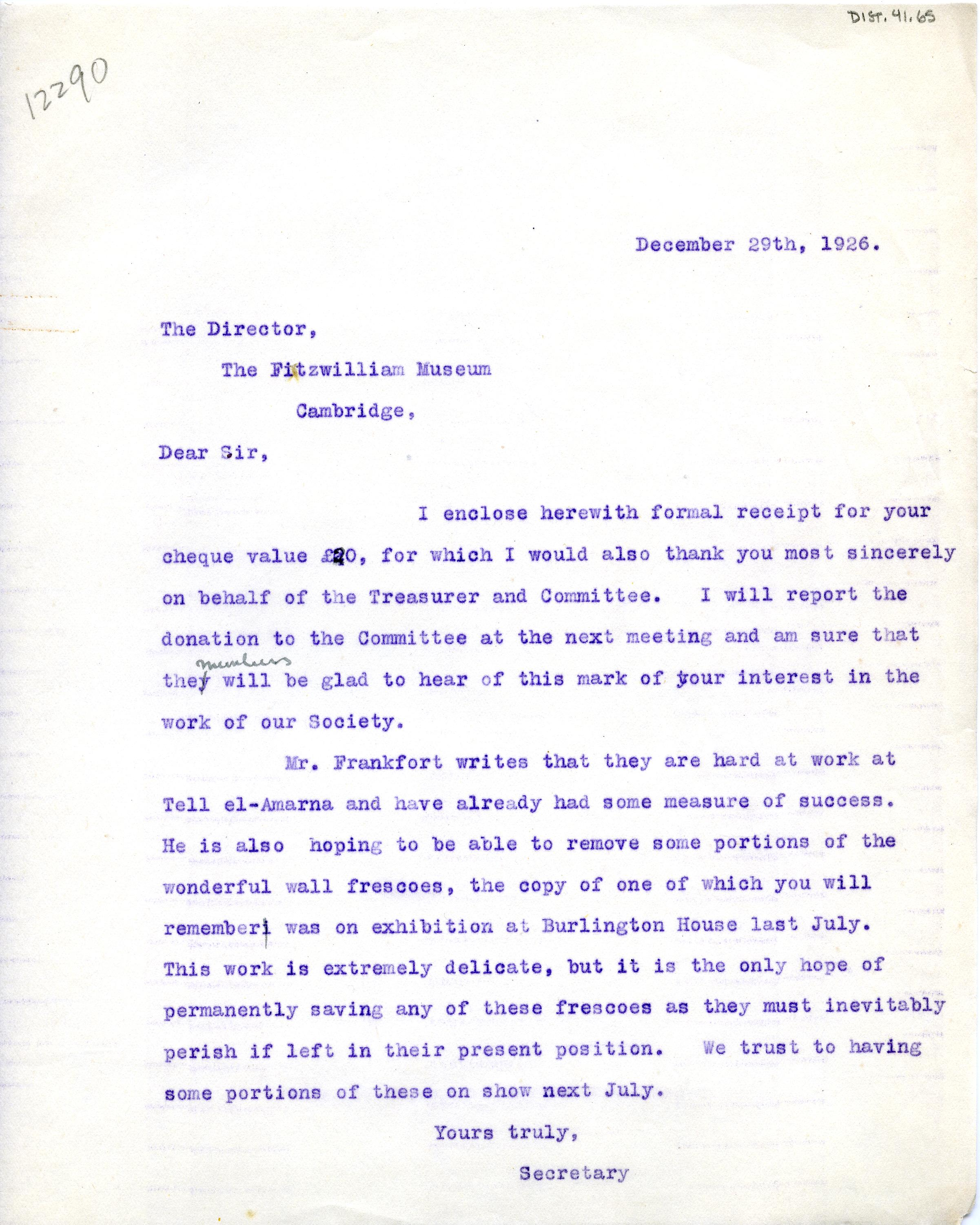 1922-76 Miscellaneous correspondence with museums DIST.41.65