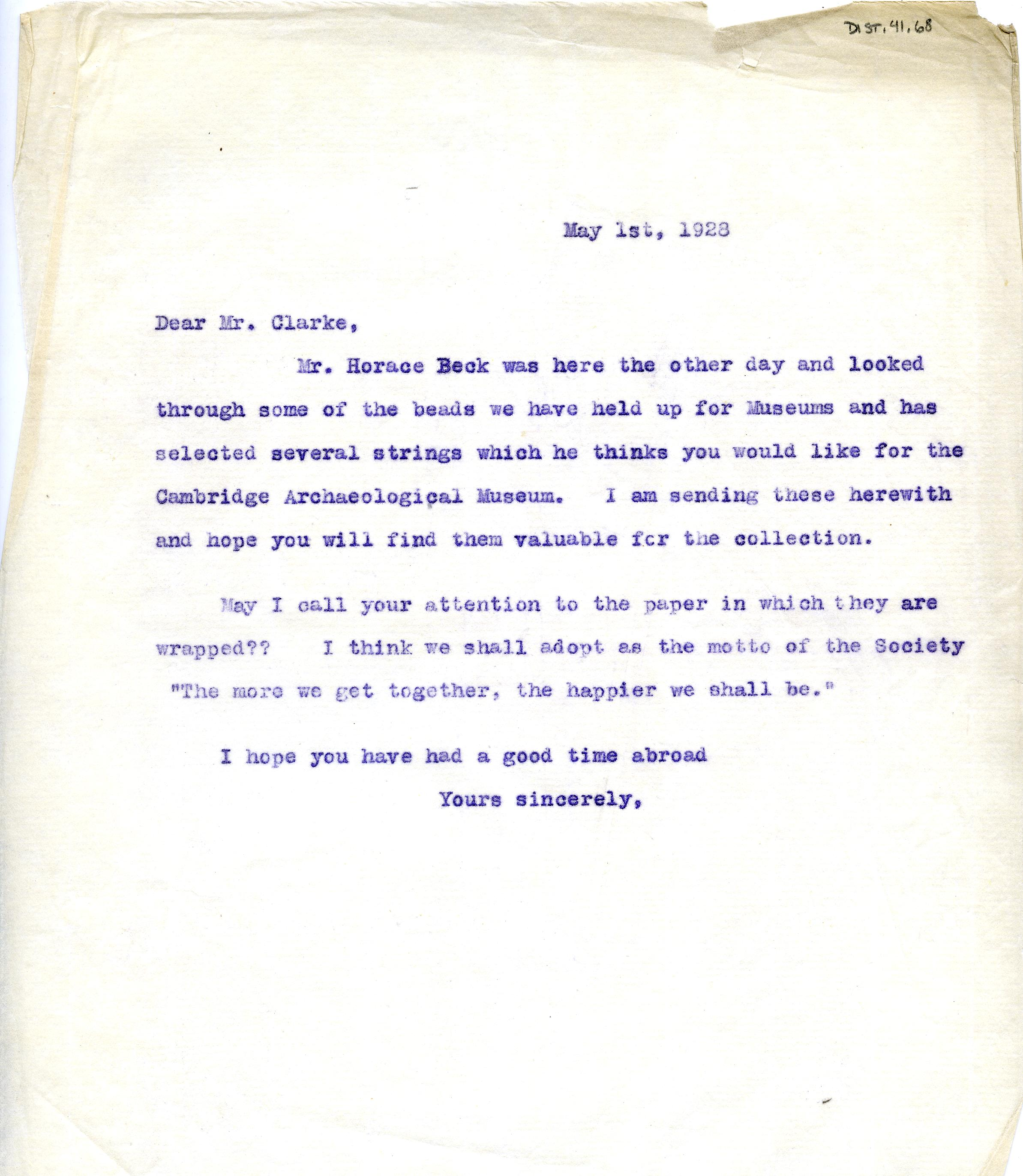 1922-76 Miscellaneous correspondence with museums DIST.41.68