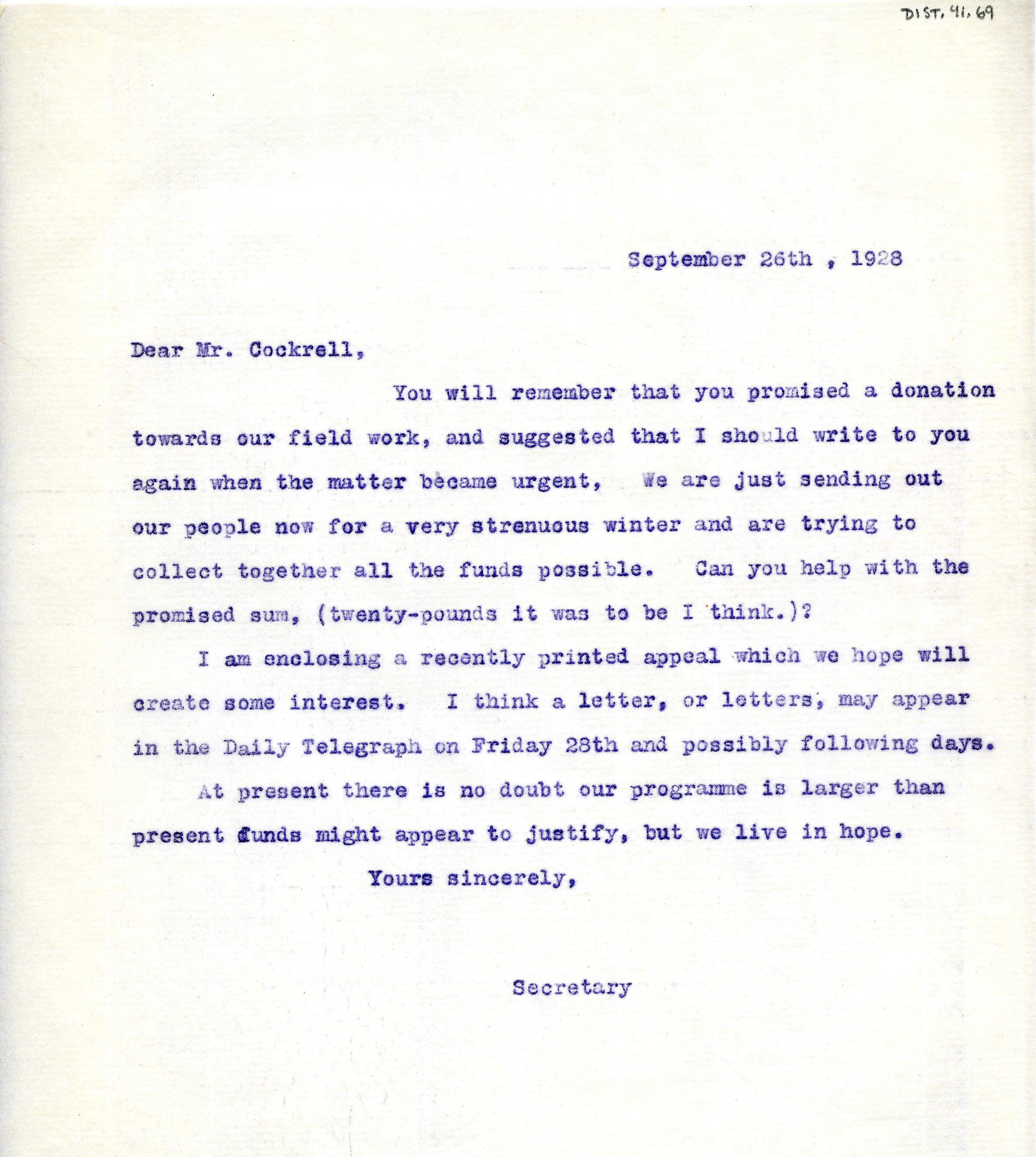 1922-76 Miscellaneous correspondence with museums DIST.41.69