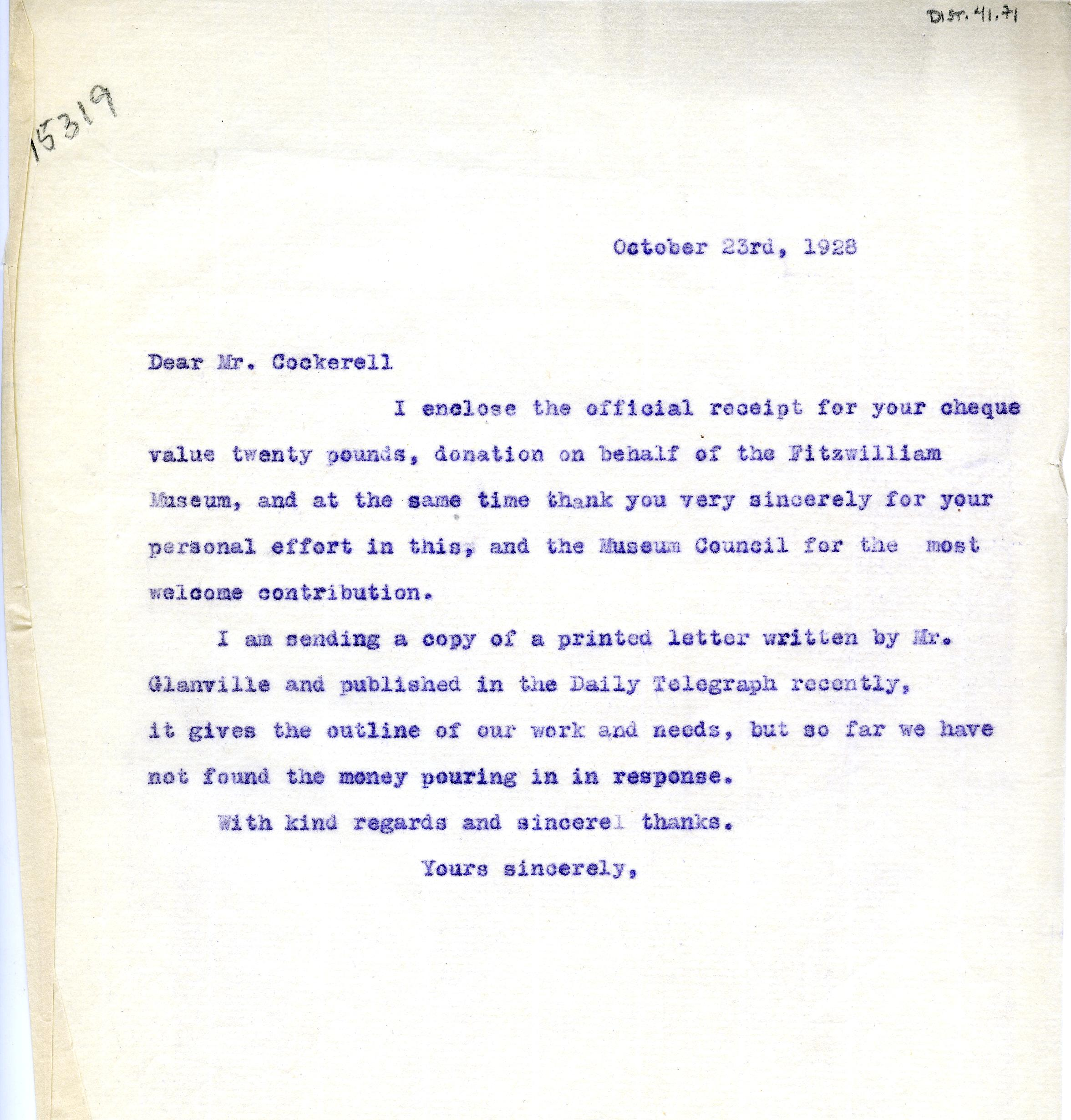 1922-76 Miscellaneous correspondence with museums DIST.41.71