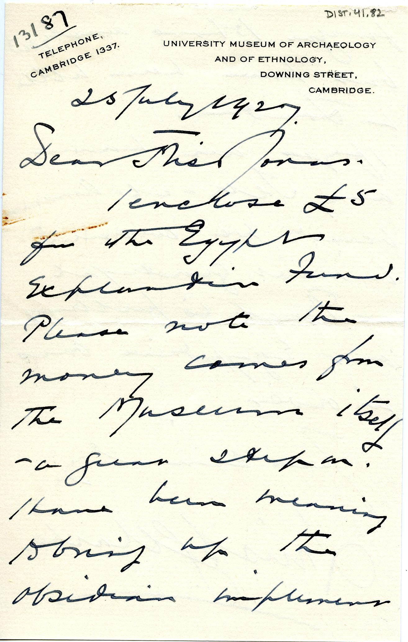 1922-76 Miscellaneous correspondence with museums DIST.41.82a