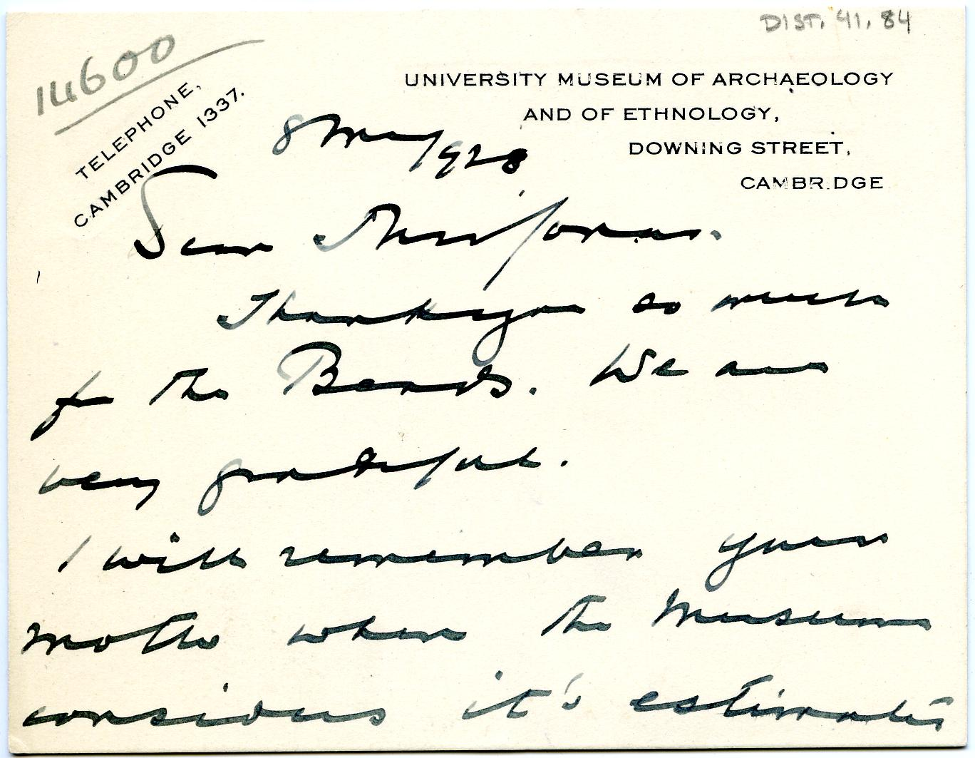1922-76 Miscellaneous correspondence with museums DIST.41.84a