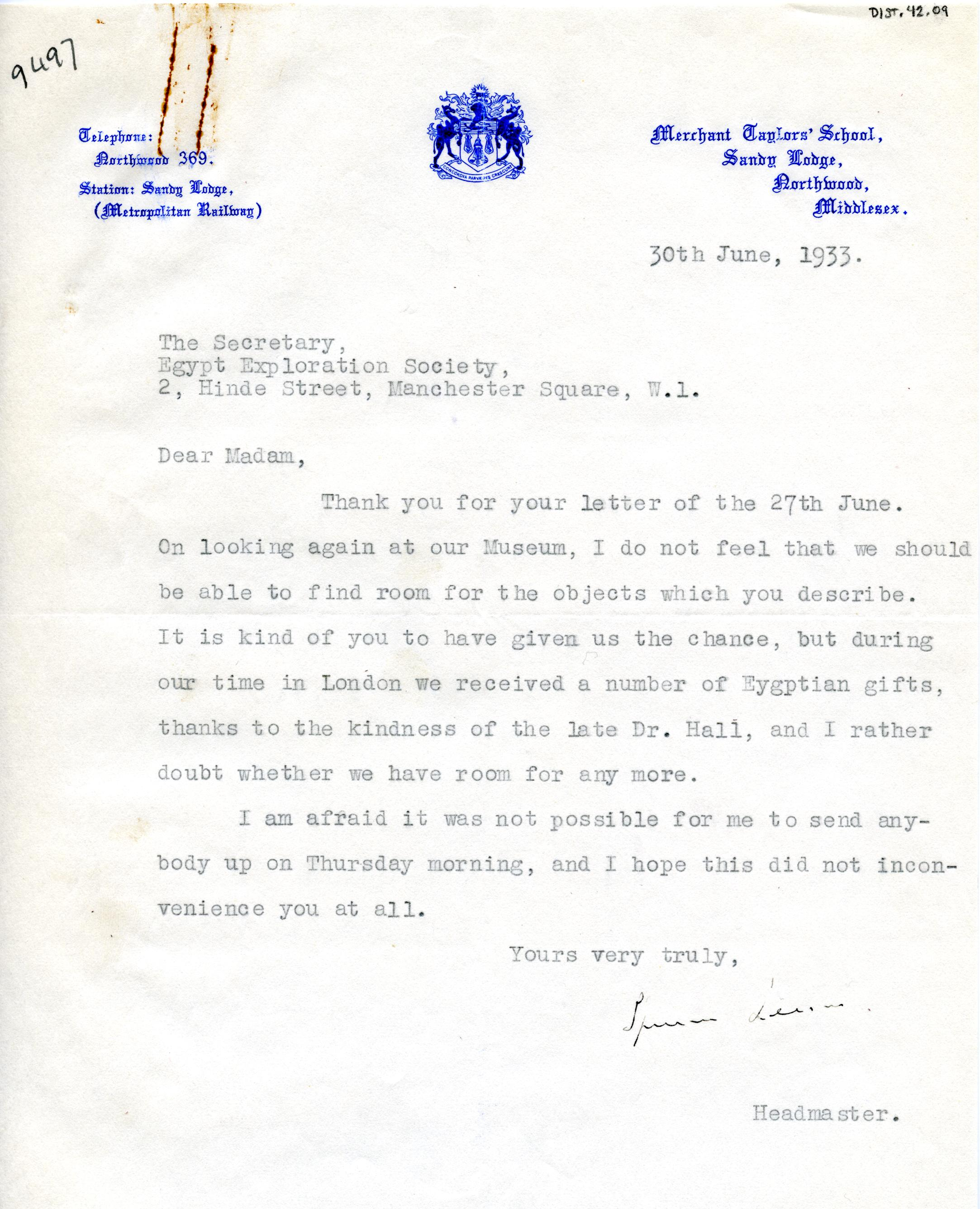 1922-71 Miscellaneous correspondence with museums DIST.42.09