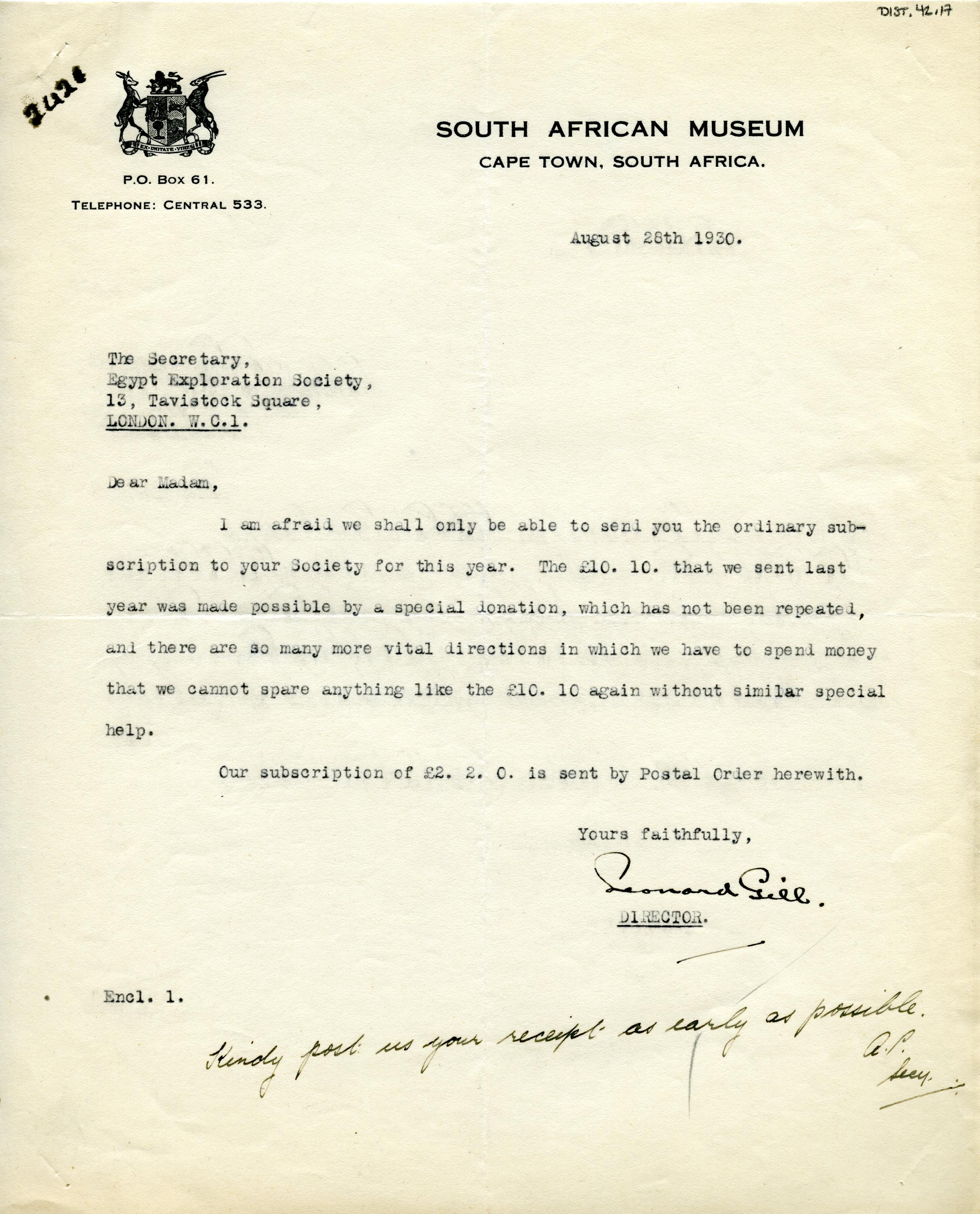 1922-71 Miscellaneous correspondence with museums DIST.42.17
