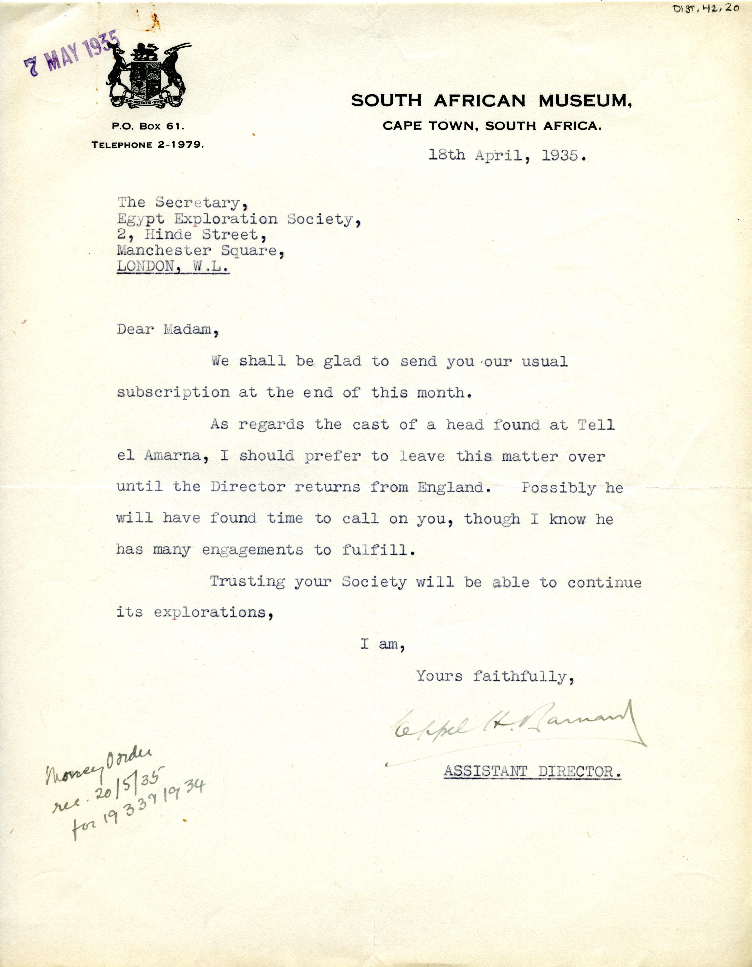 1922-71 Miscellaneous correspondence with museums DIST.42.20