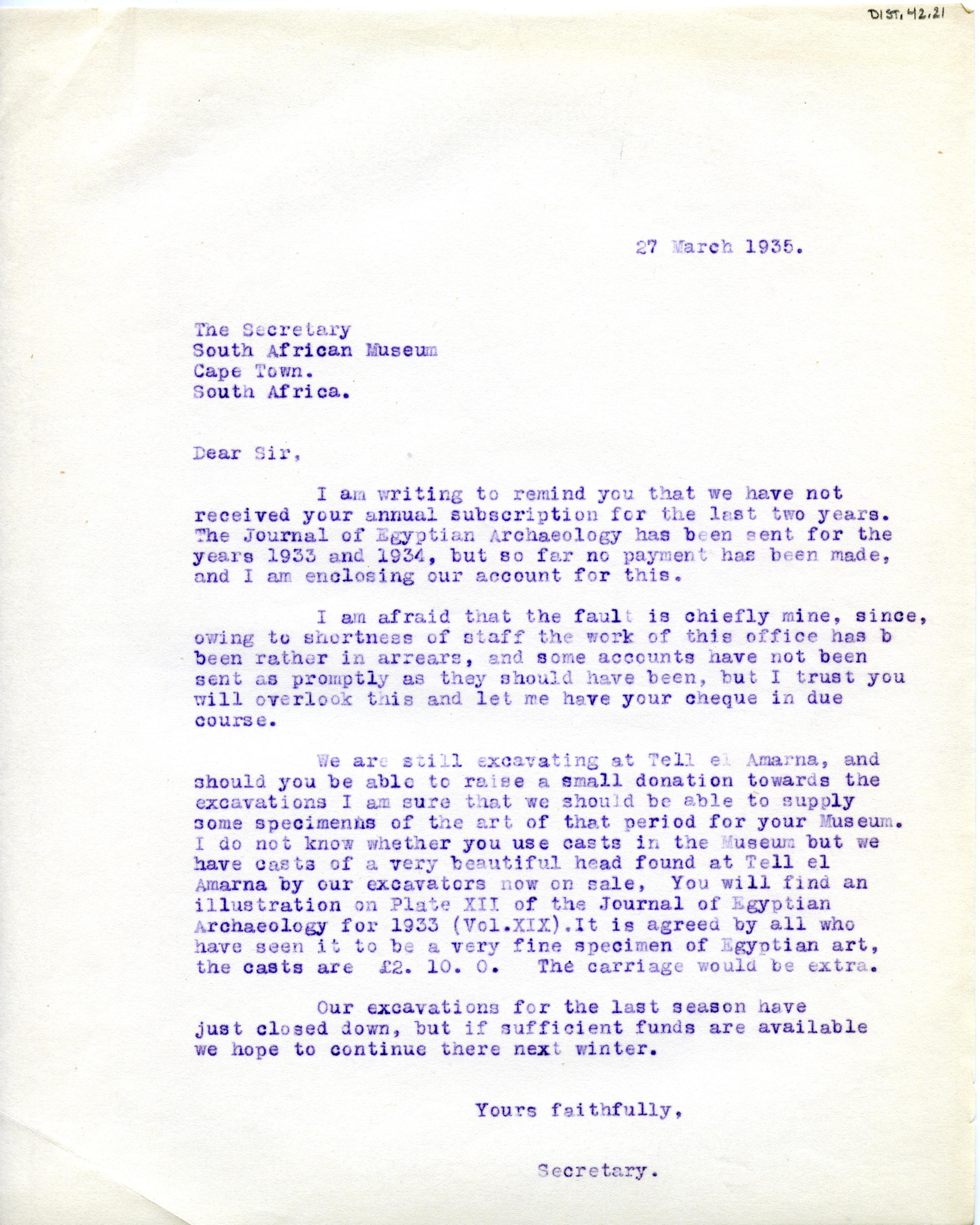 1922-71 Miscellaneous correspondence with museums DIST.42.21