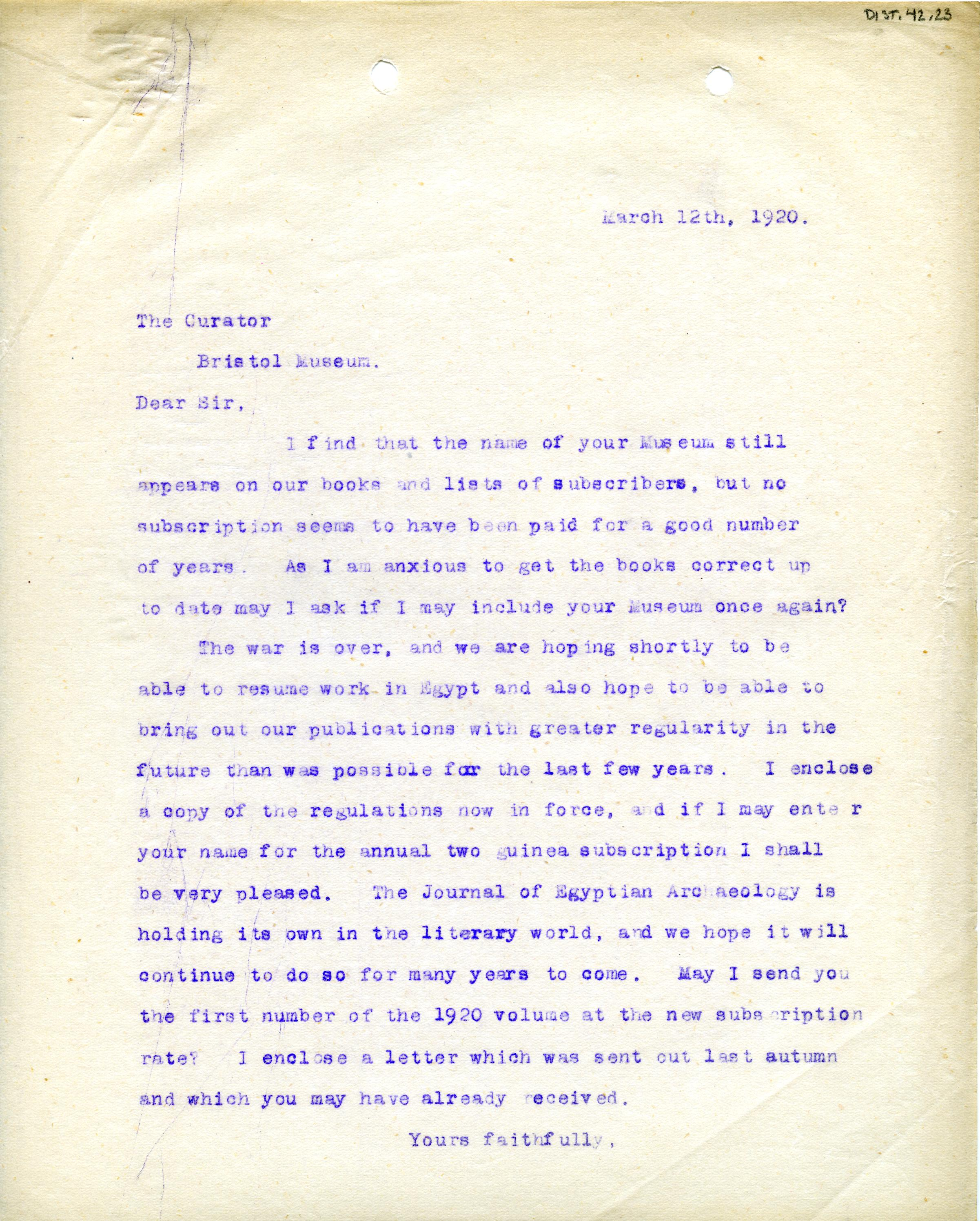 1922-71 Miscellaneous correspondence with museums DIST.42.23