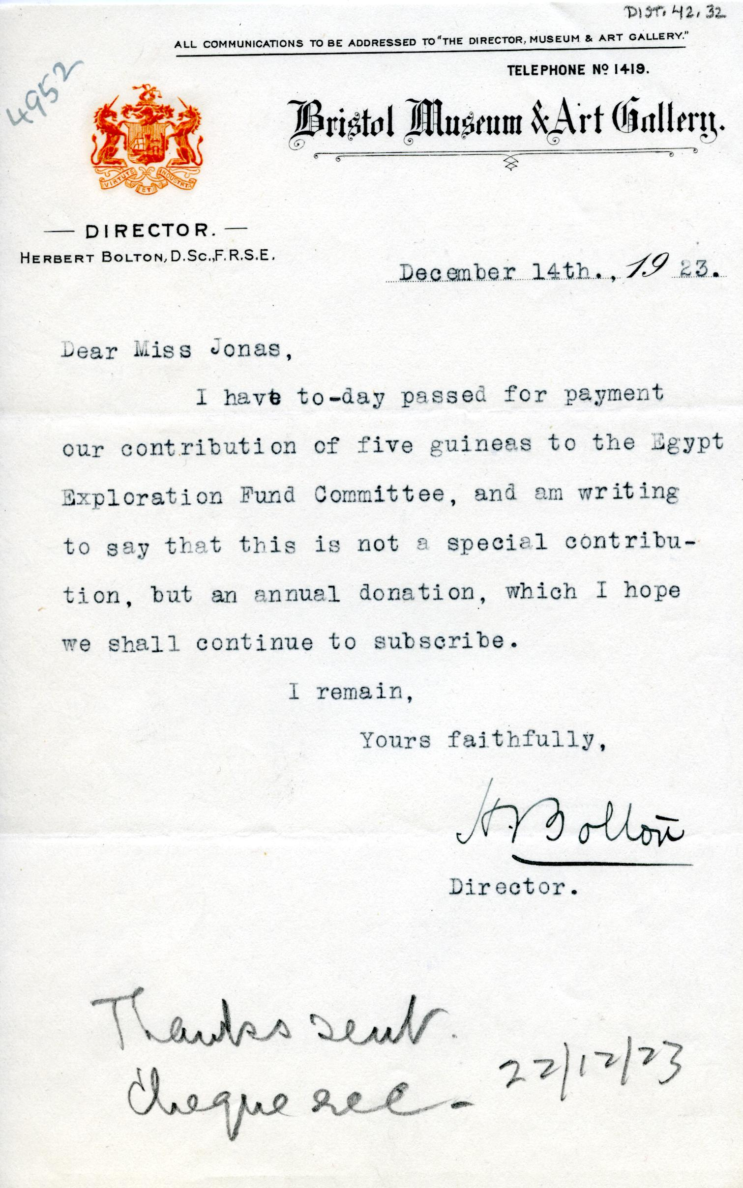 1922-71 Miscellaneous correspondence with museums DIST.42.32