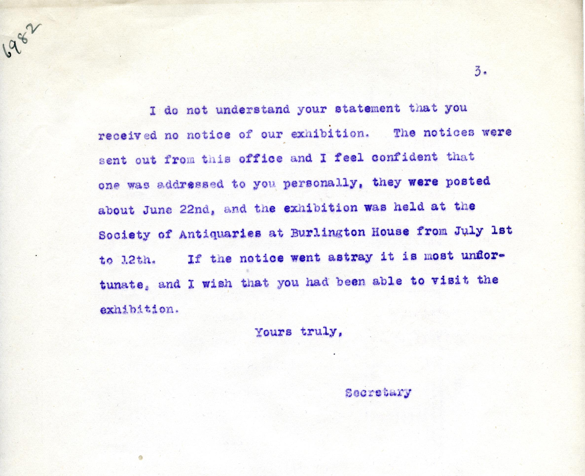 1922-71 Miscellaneous correspondence with museums DIST.42.37c