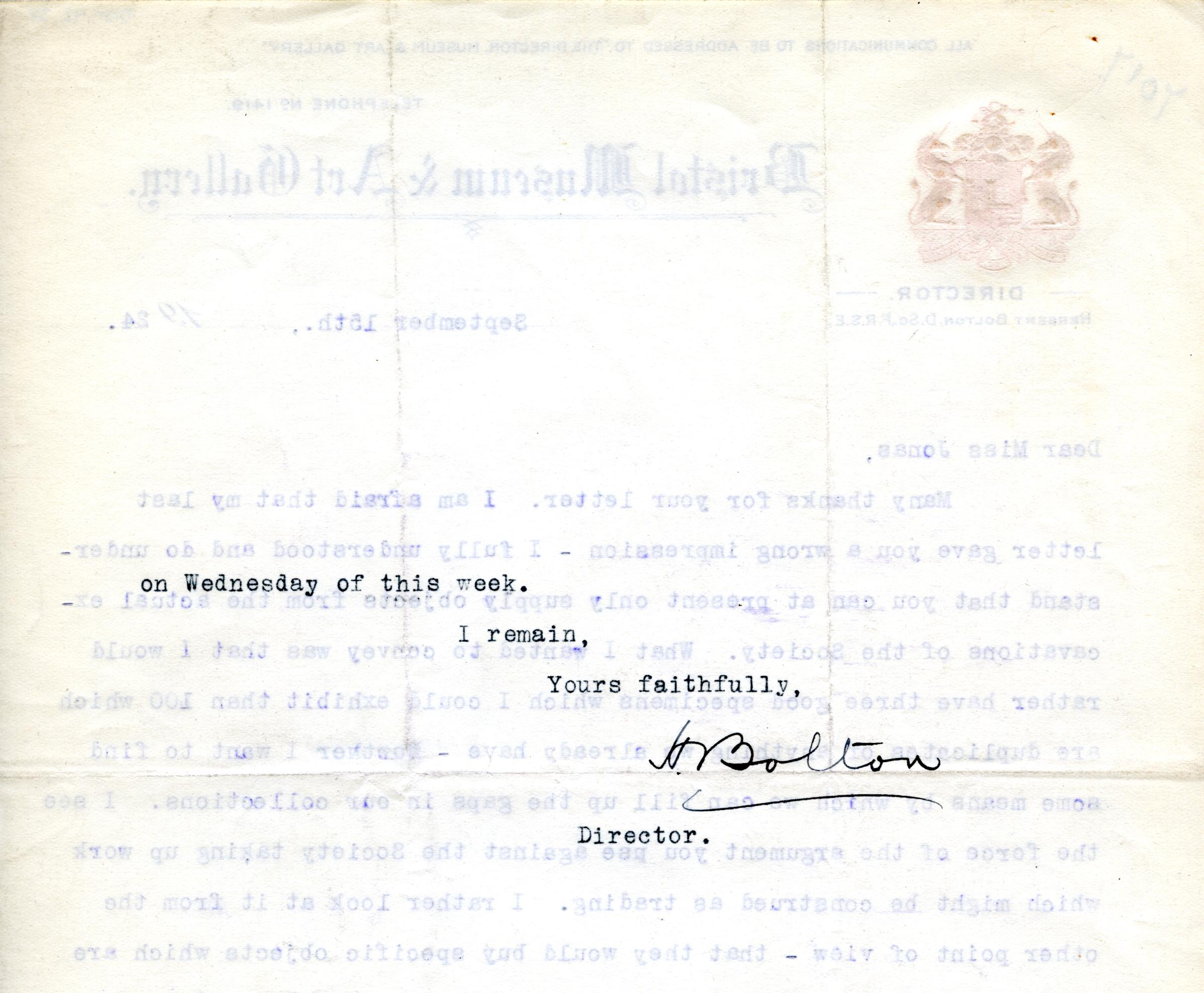 1922-71 Miscellaneous correspondence with museums DIST.42.38b