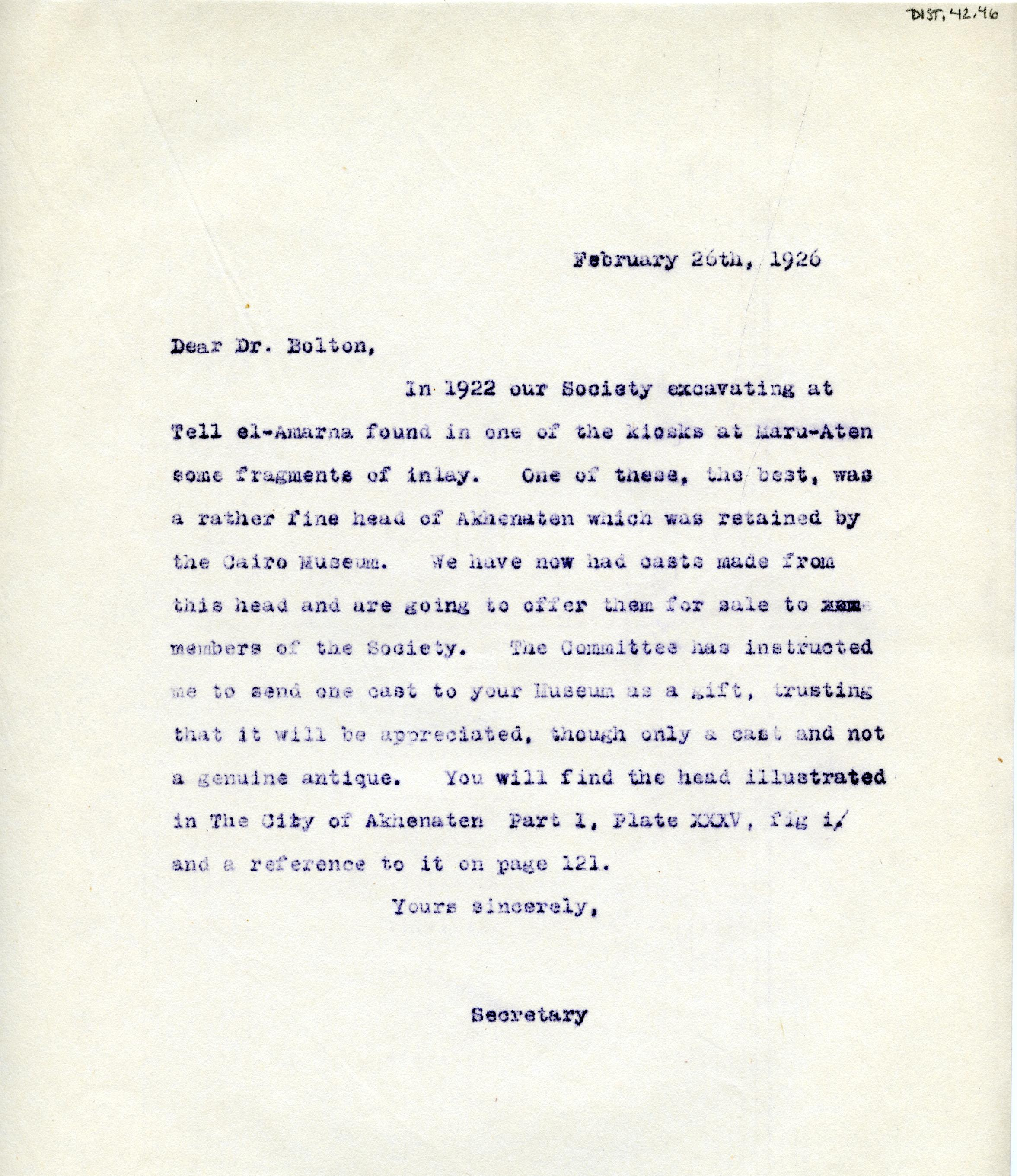 1922-71 Miscellaneous correspondence with museums DIST.42.46