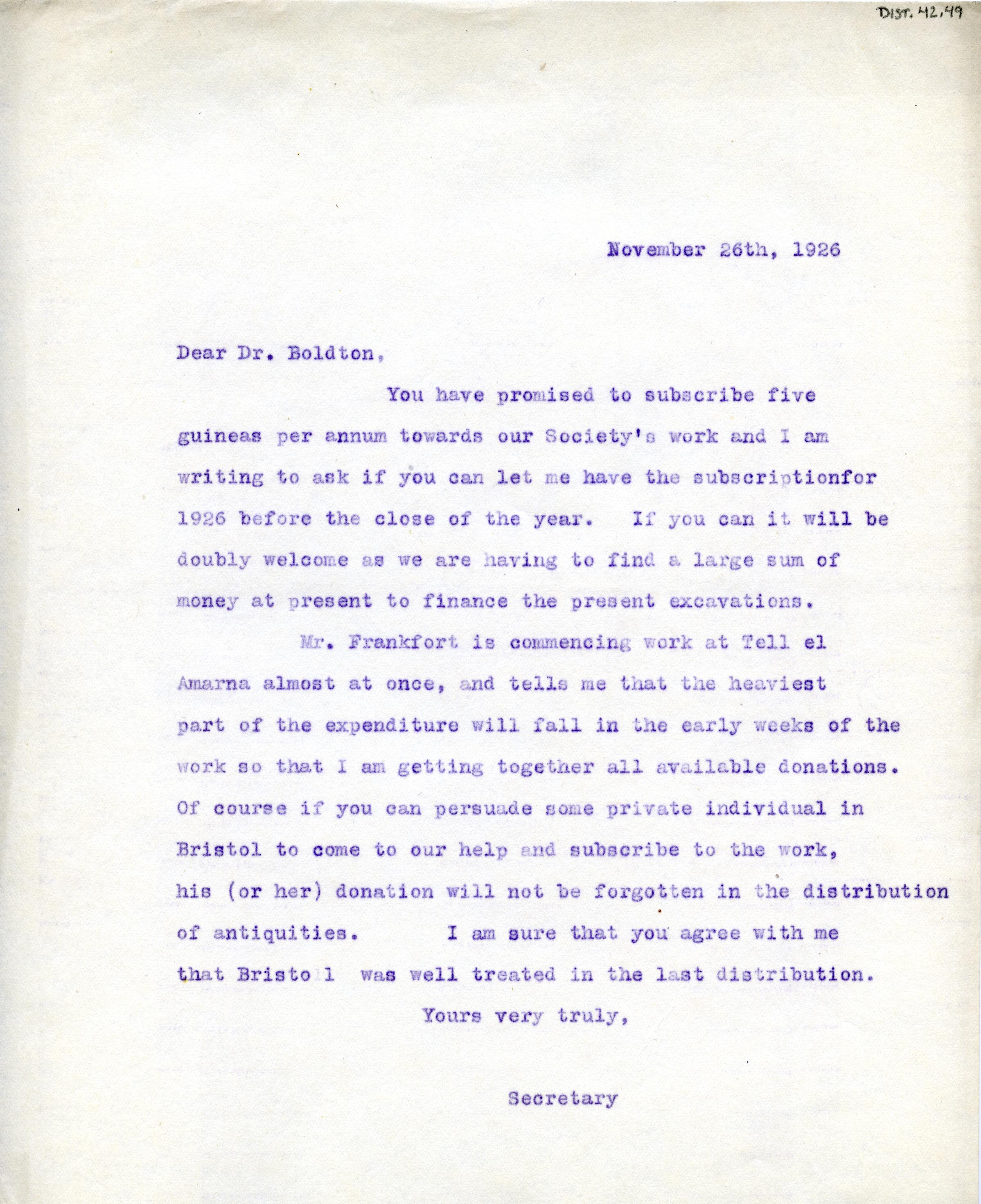 1922-71 Miscellaneous correspondence with museums DIST.42.49