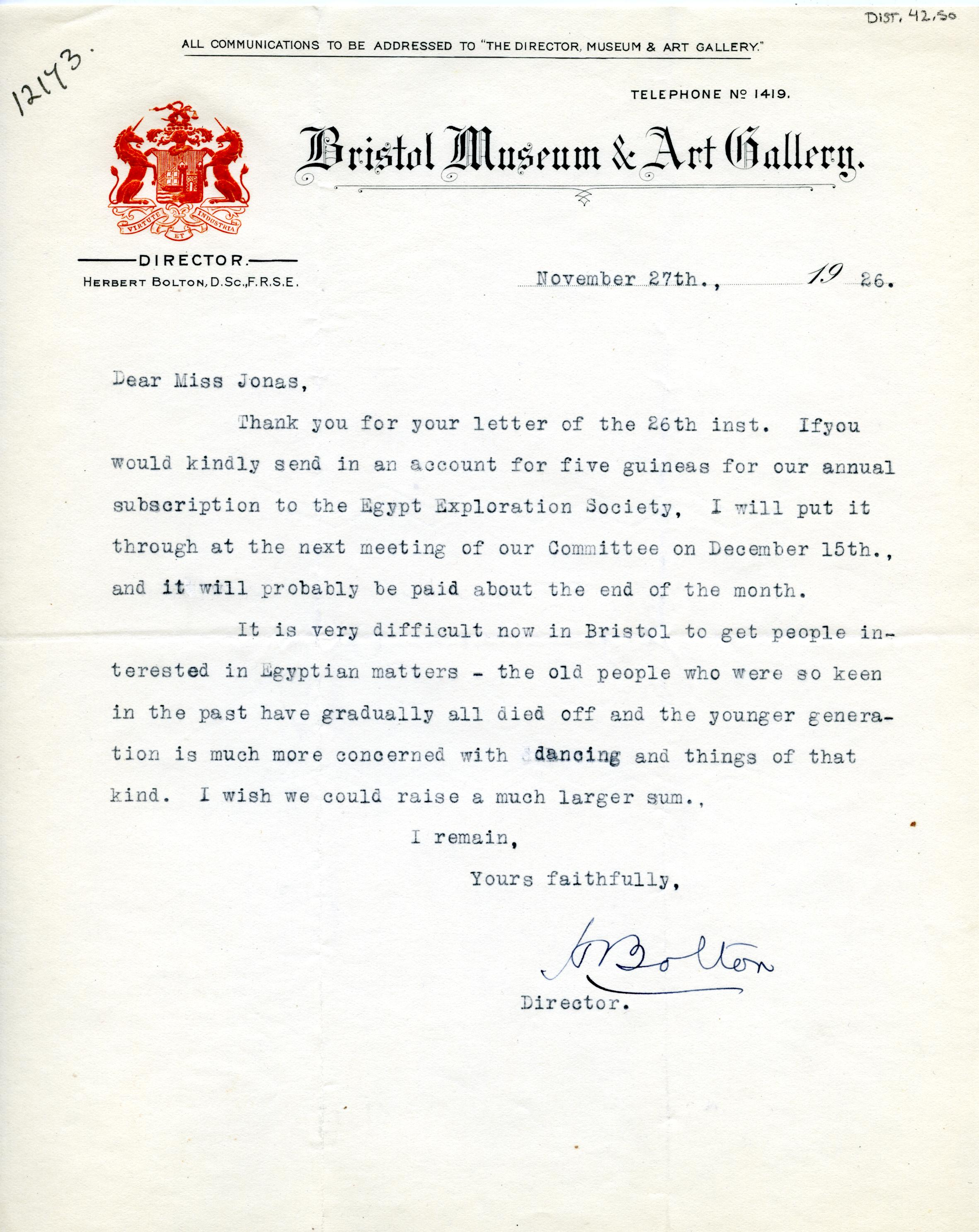 1922-71 Miscellaneous correspondence with museums DIST.42.50