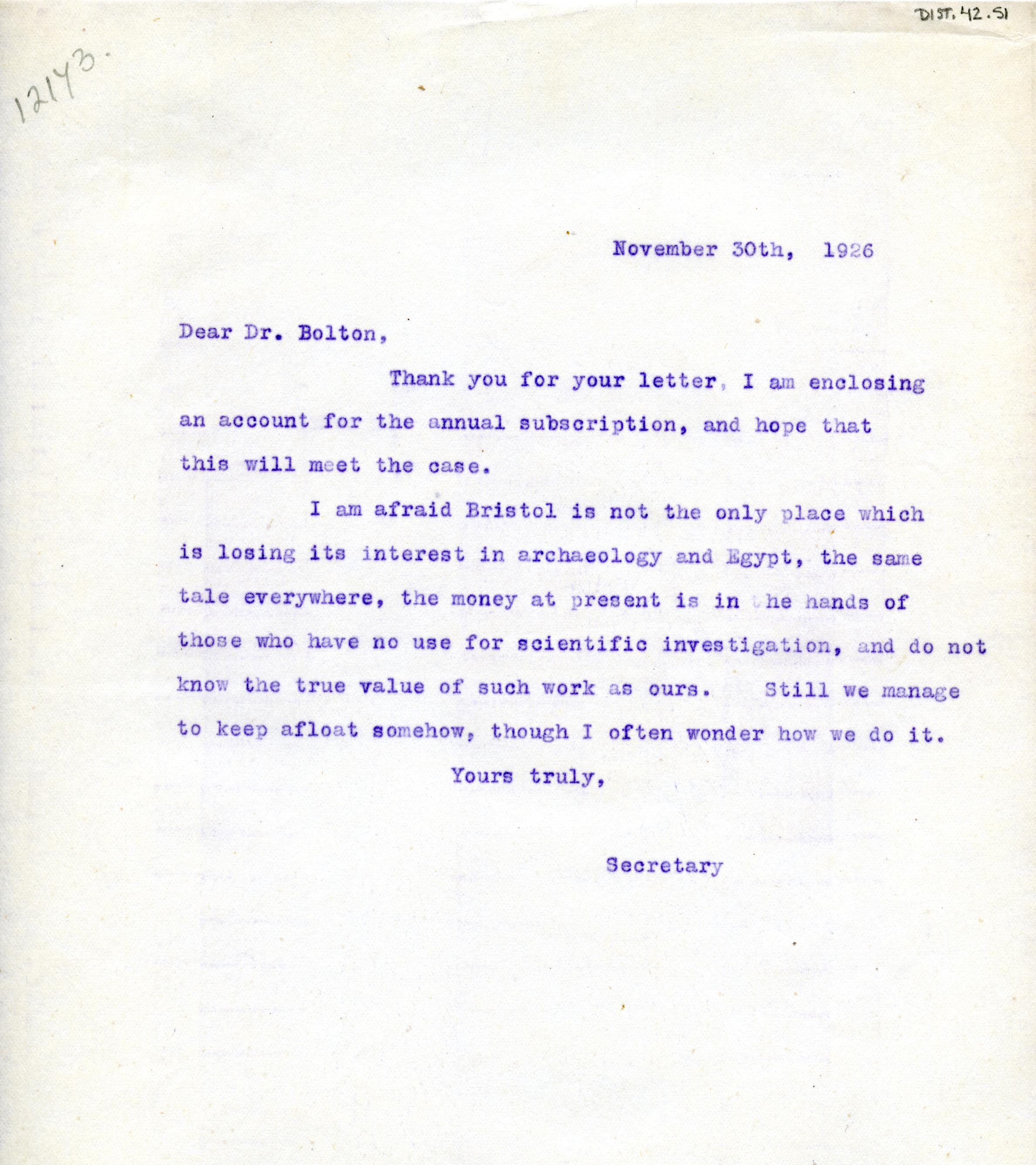 1922-71 Miscellaneous correspondence with museums DIST.42.51