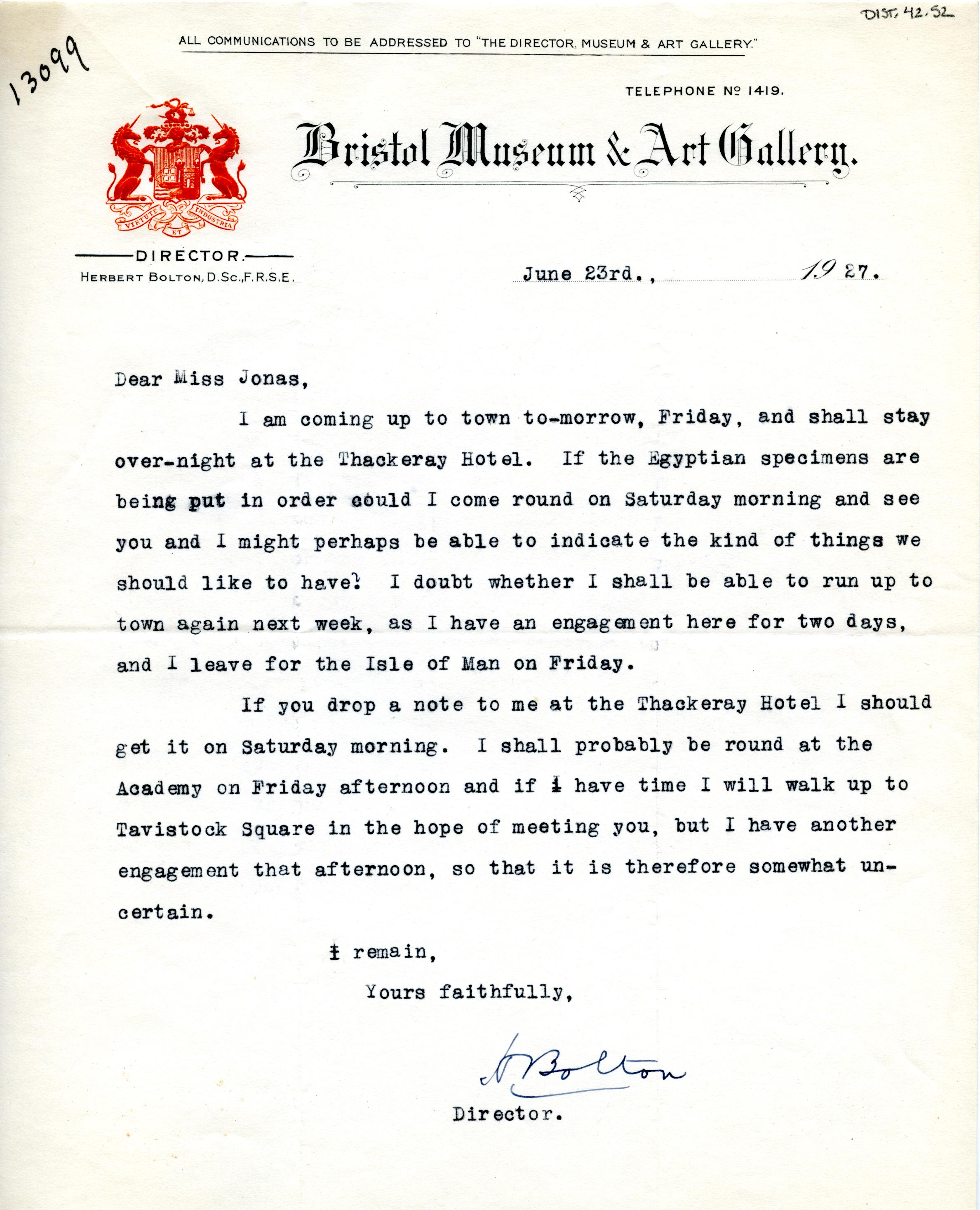 1922-71 Miscellaneous correspondence with museums DIST.42.52