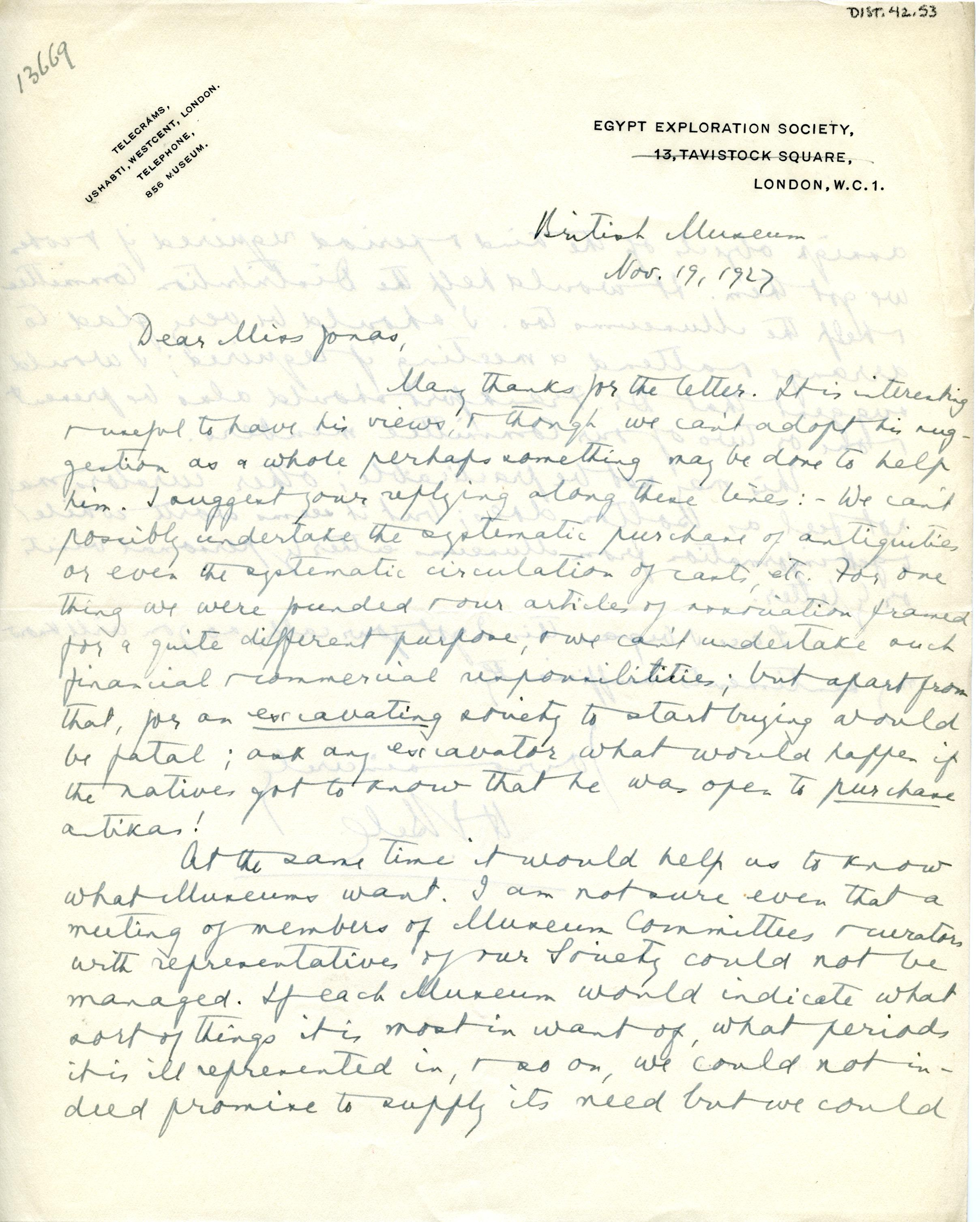 1922-71 Miscellaneous correspondence with museums DIST.42.53a