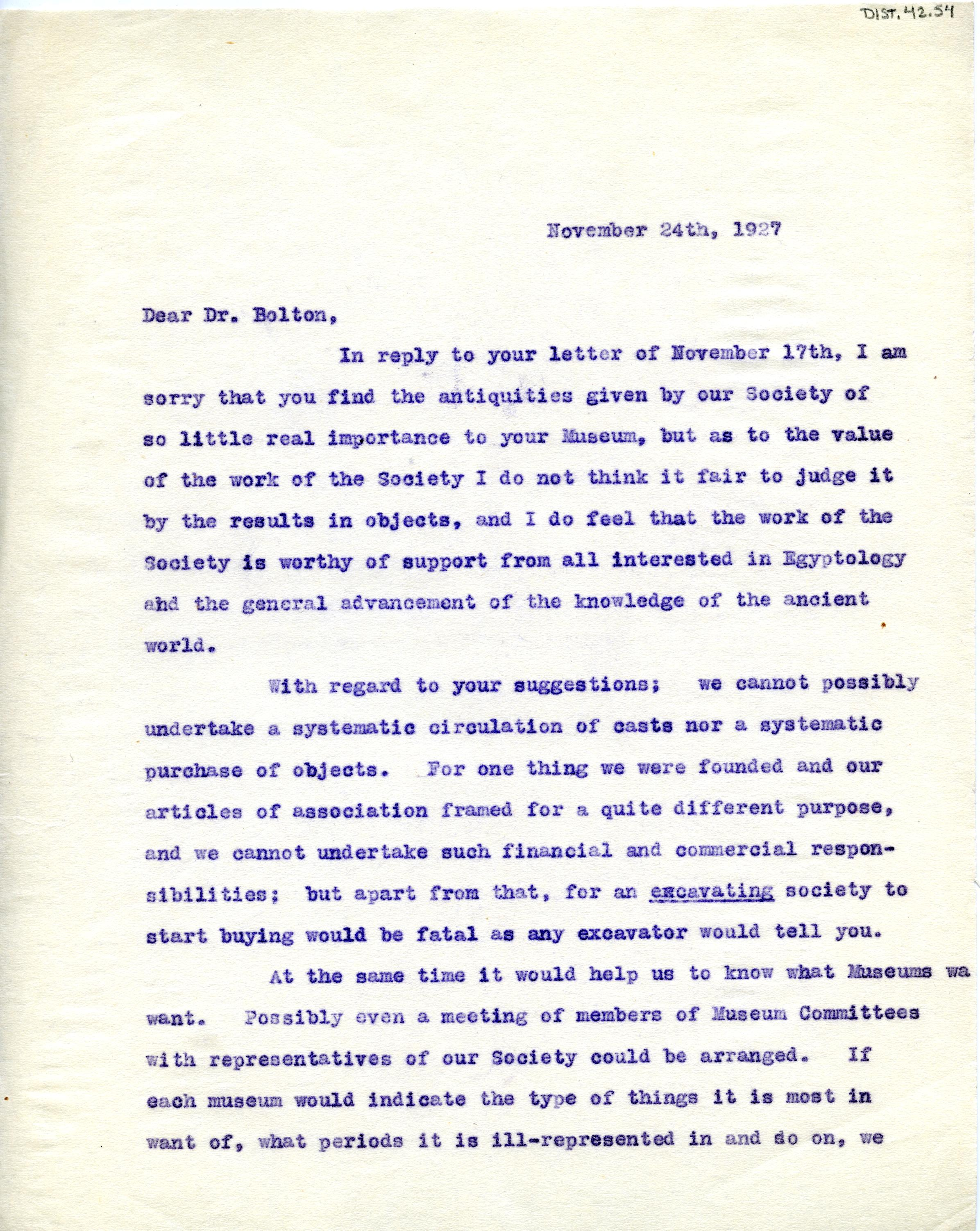 1922-71 Miscellaneous correspondence with museums DIST.42.54a