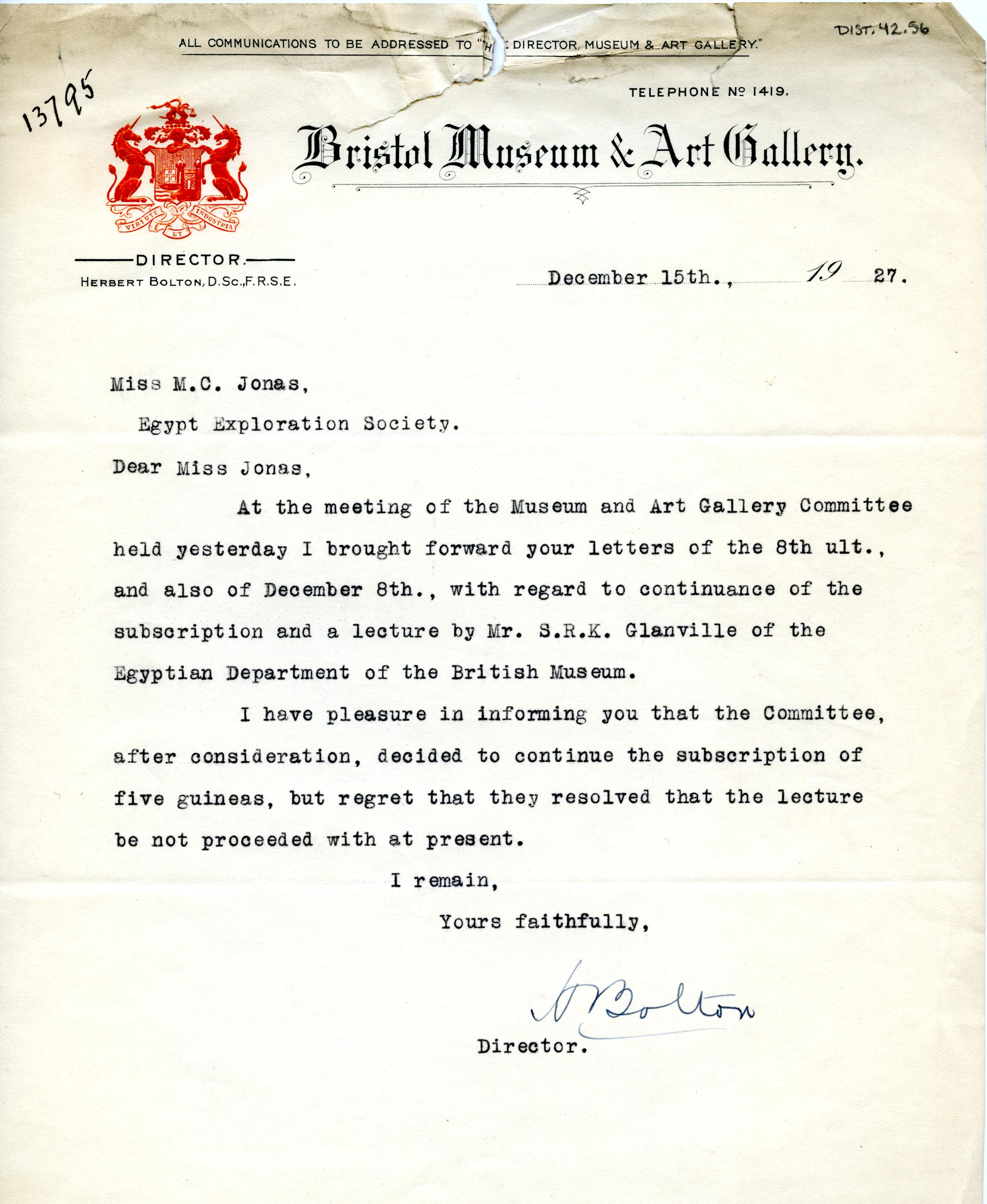 1922-71 Miscellaneous correspondence with museums DIST.42.56