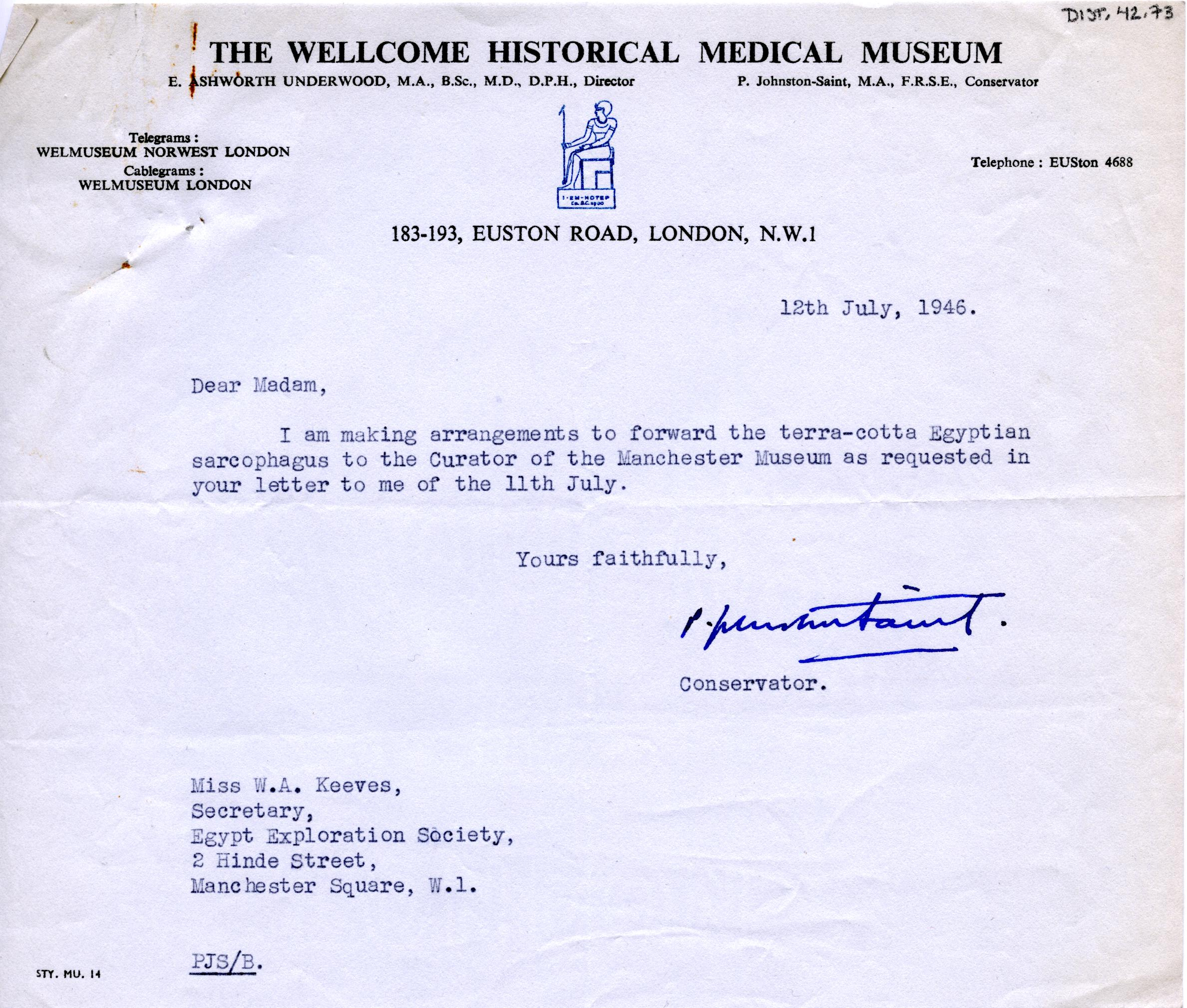 1922-71 Miscellaneous correspondence with museums DIST.42.73