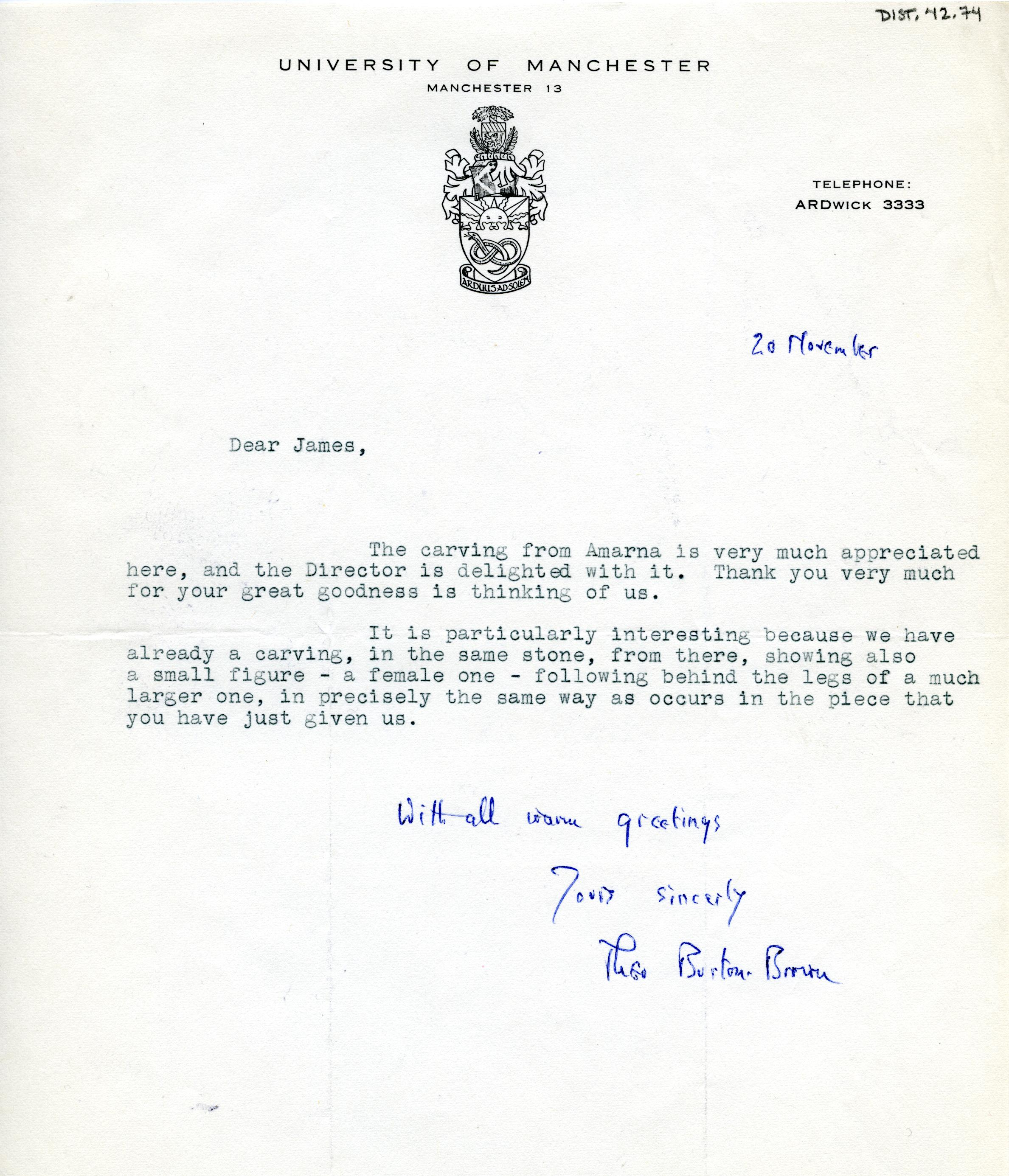 1922-71 Miscellaneous correspondence with museums DIST.42.74