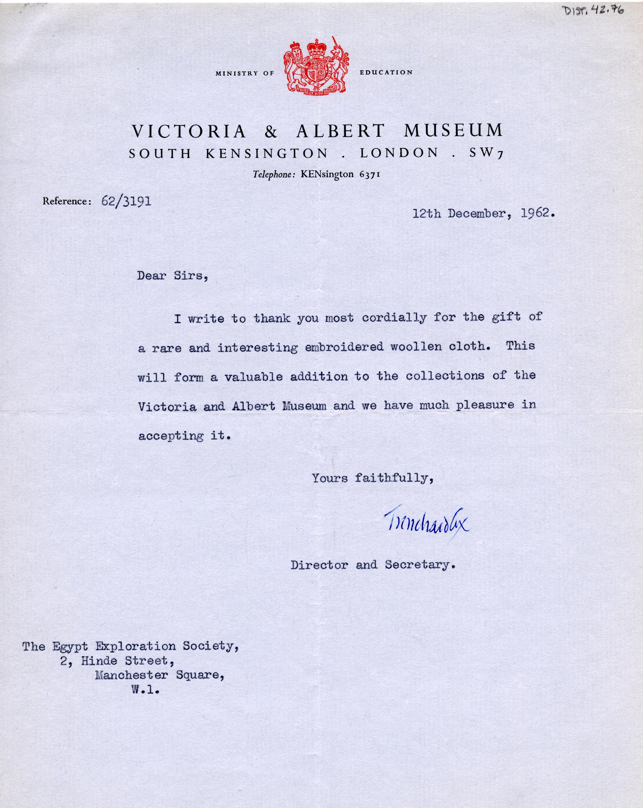 1922-71 Miscellaneous correspondence with museums DIST.42.76