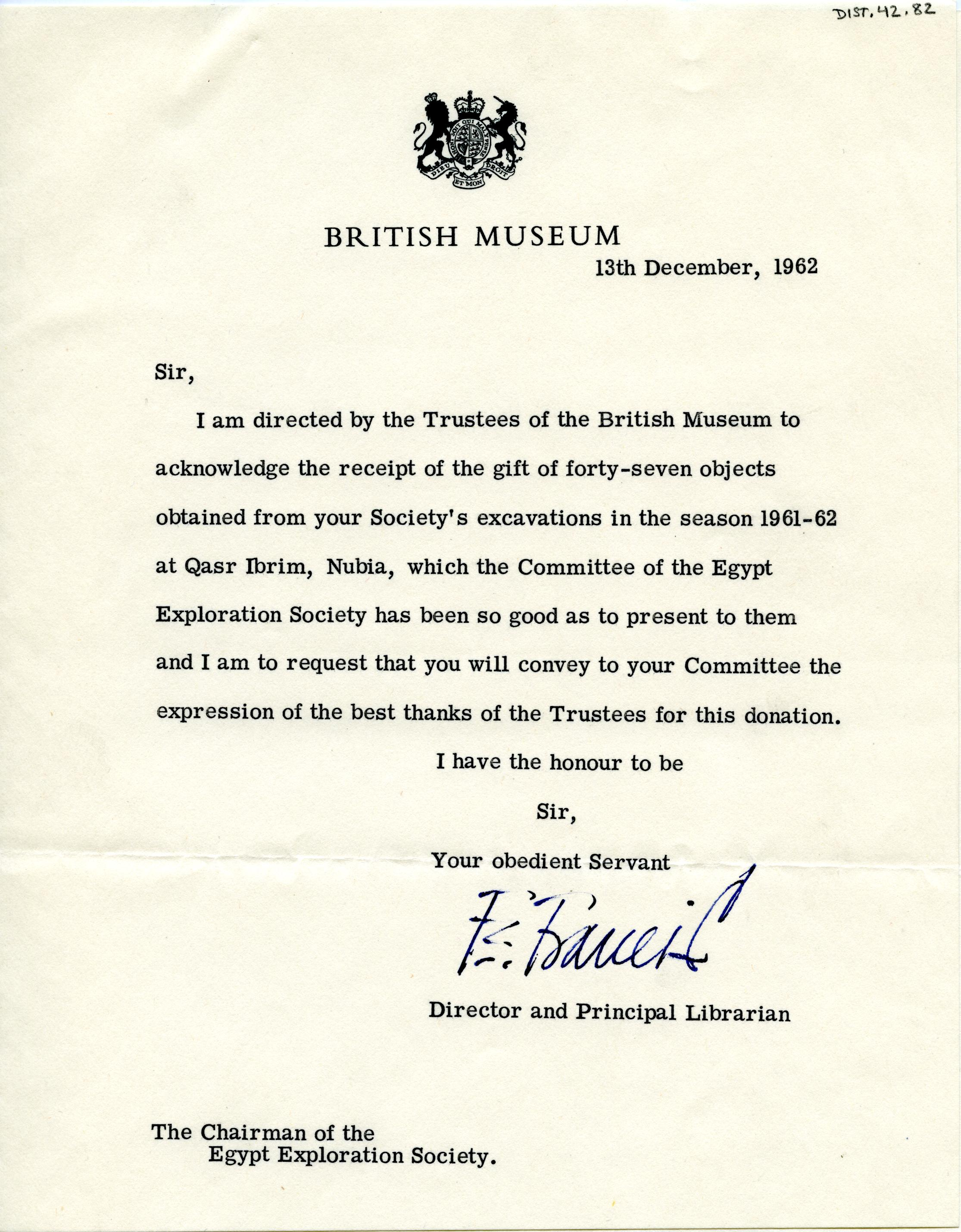 1922-71 Miscellaneous correspondence with museums DIST.42.82