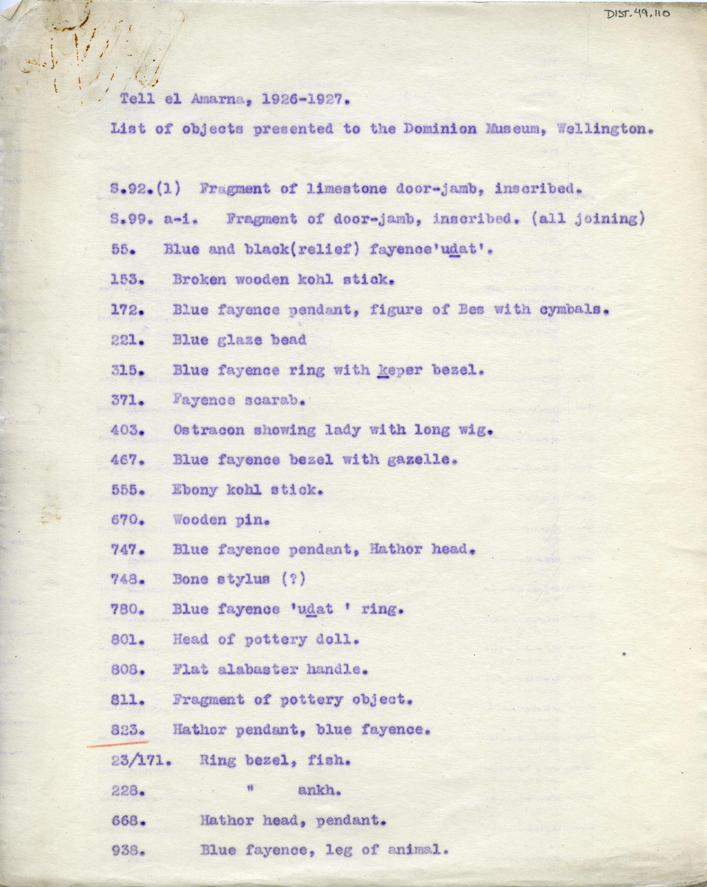 1926-27 el-Amarna DIST.49.110a