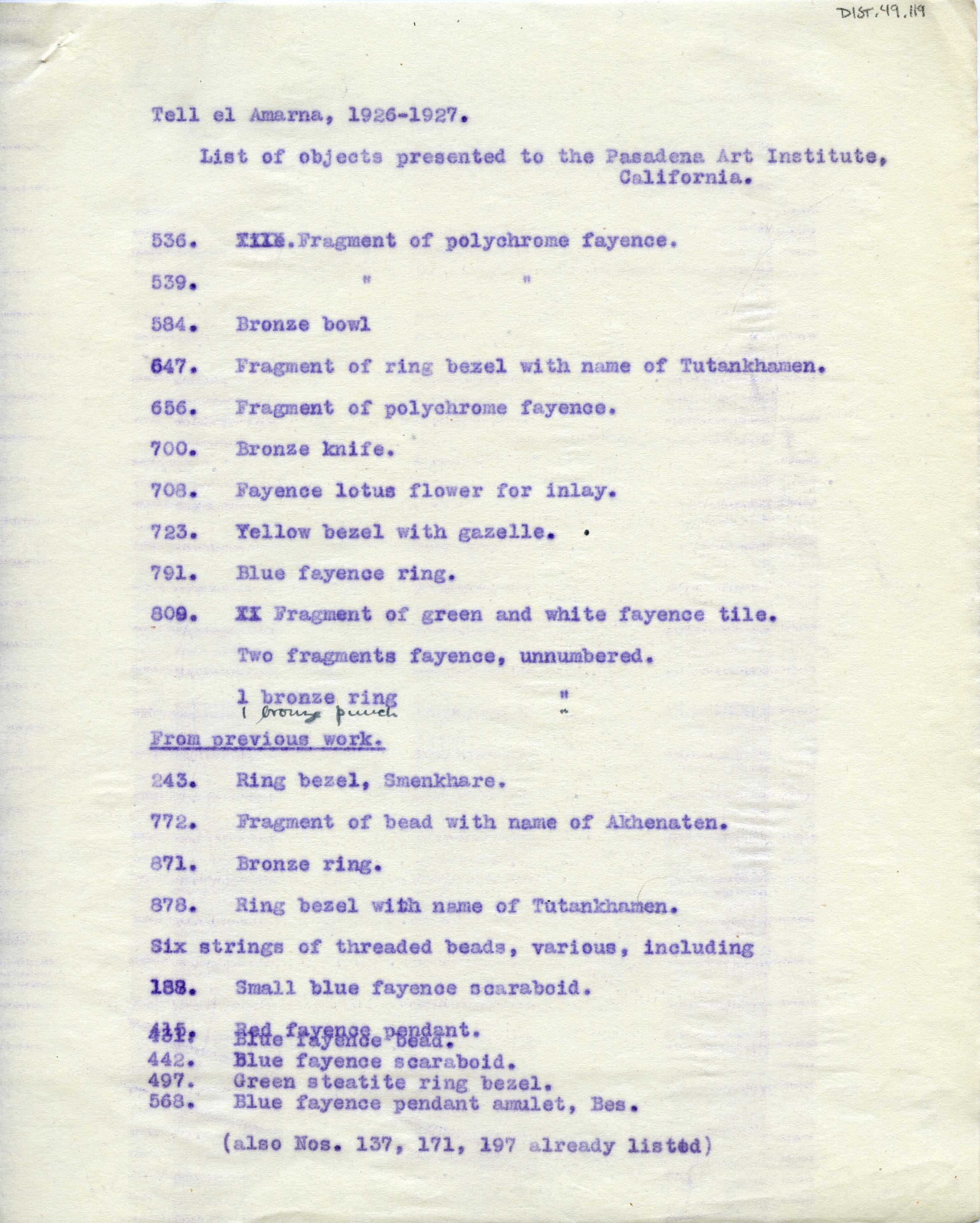 1926-27 el-Amarna DIST.49.119a