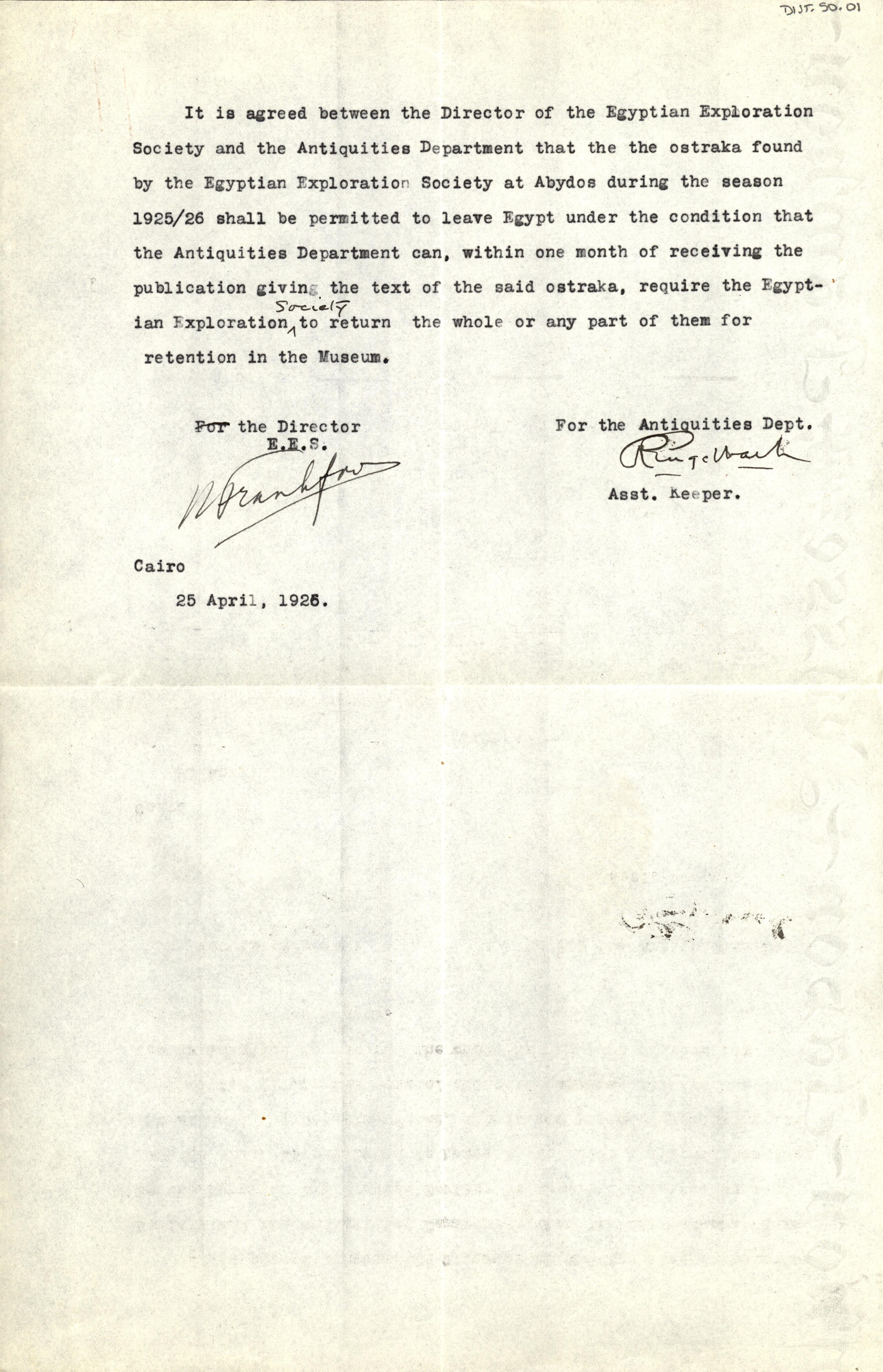 1926-39 correspondence with Antiquities Service DIST.50.01