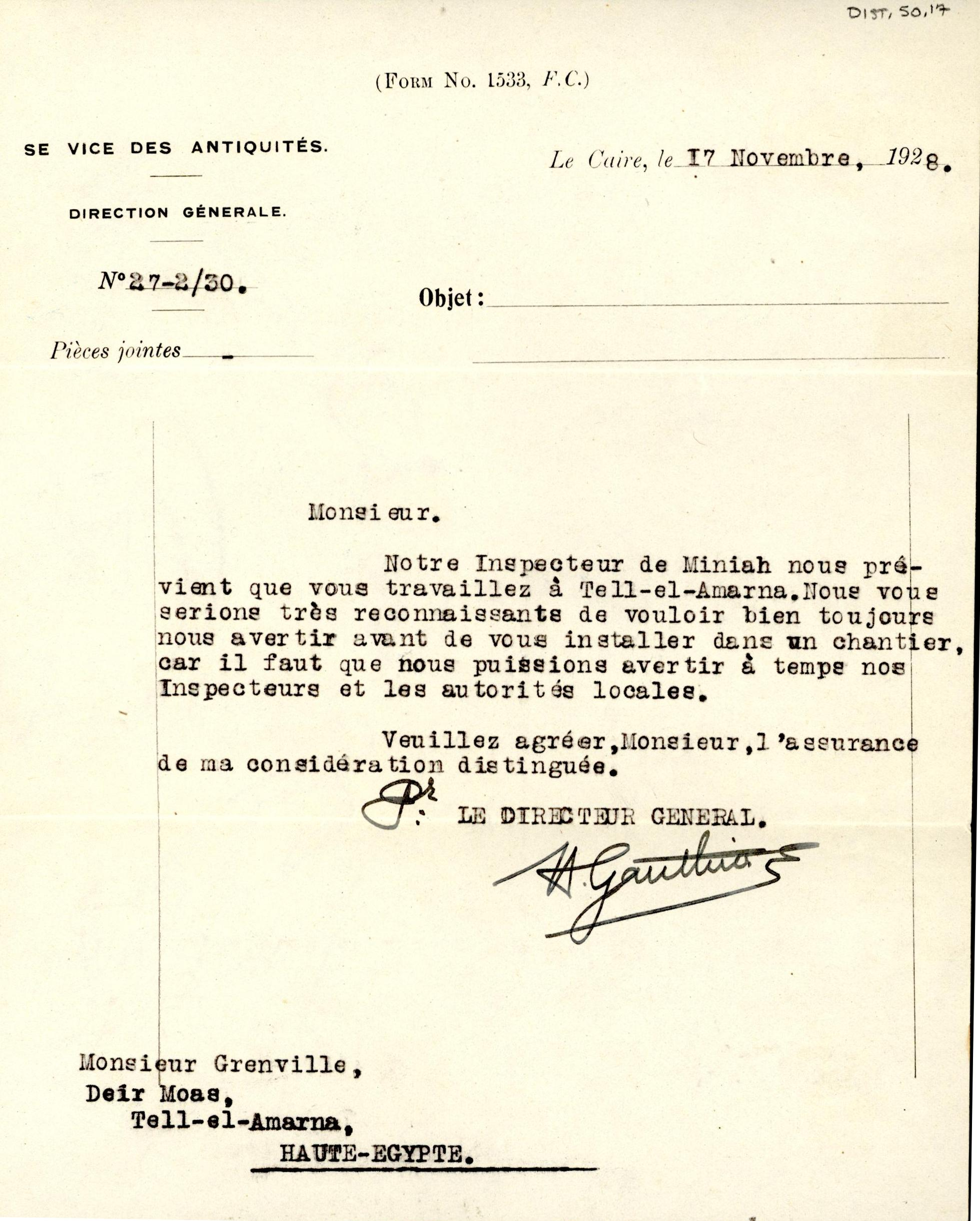 1926-39 correspondence with Antiquities Service DIST.50.17a