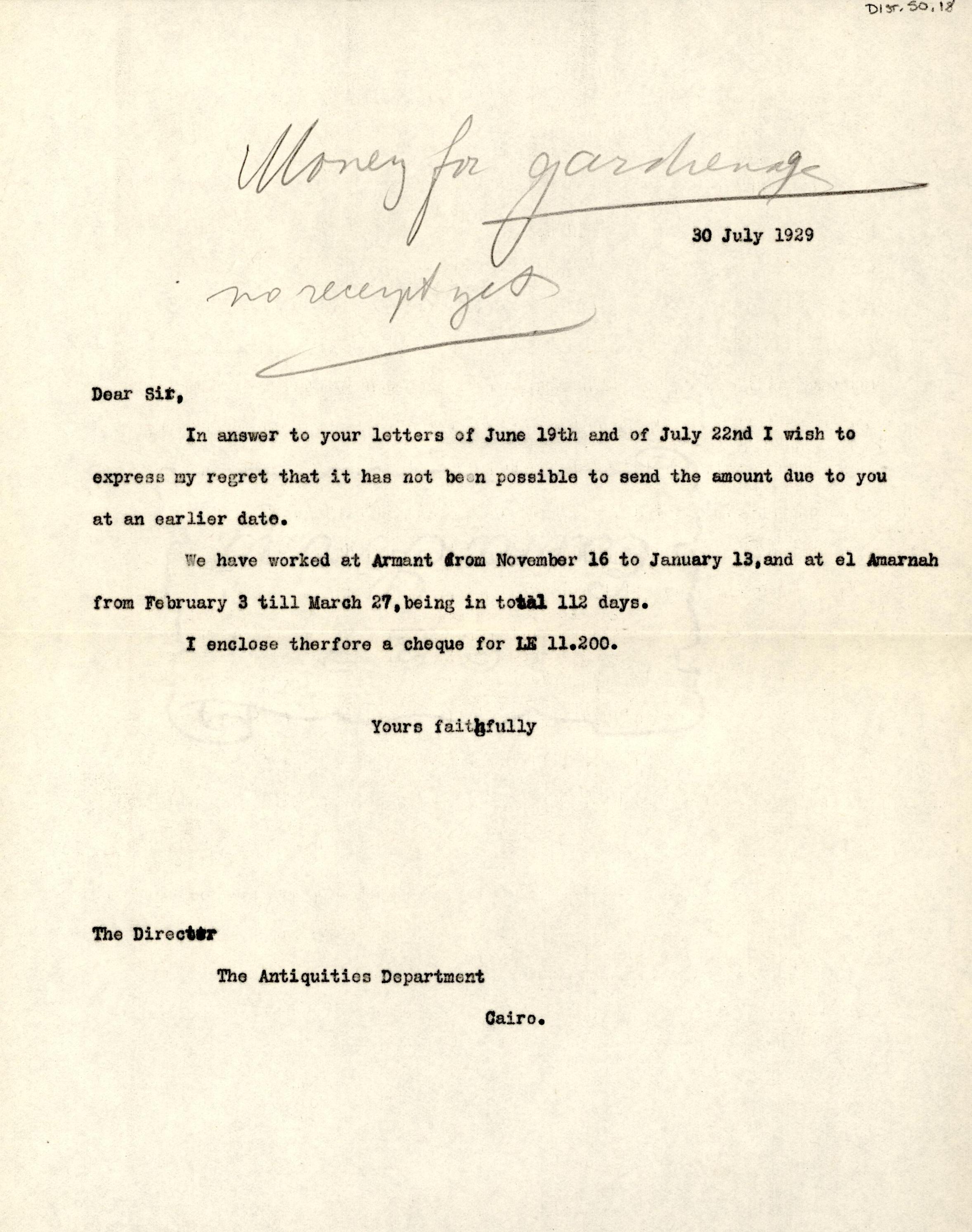 1926-39 correspondence with Antiquities Service DIST.50.18