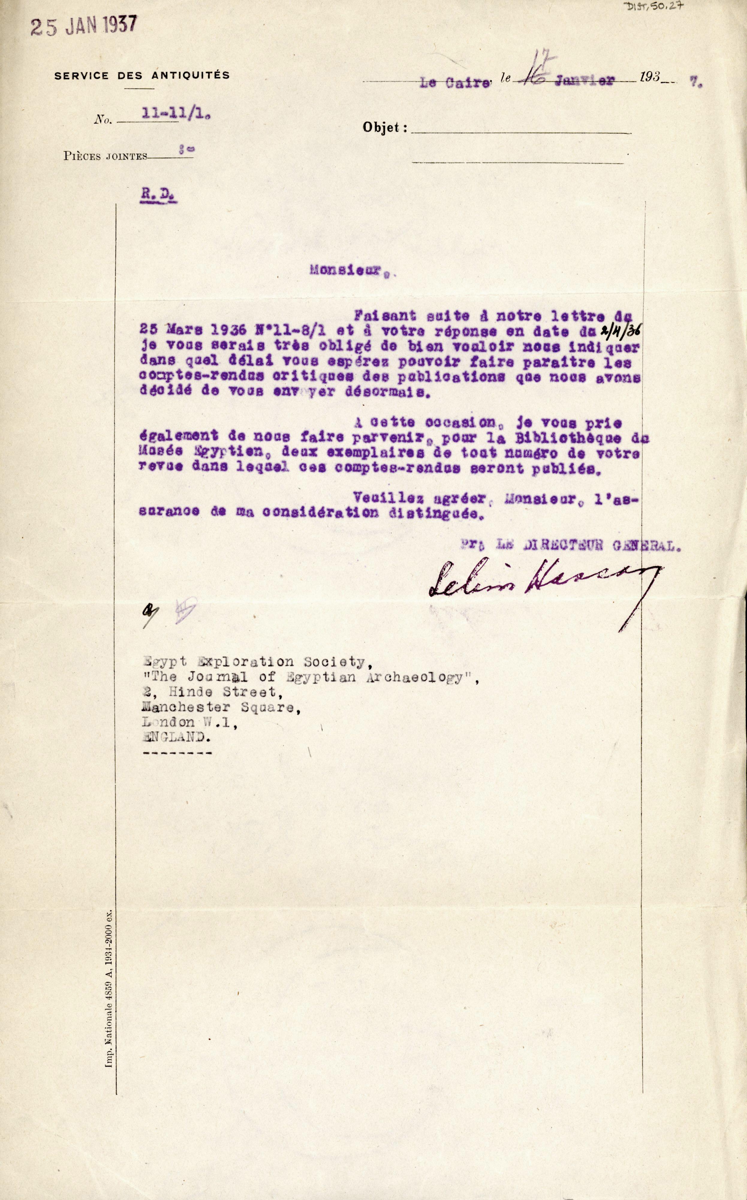 1926-39 correspondence with Antiquities Service DIST.50.27