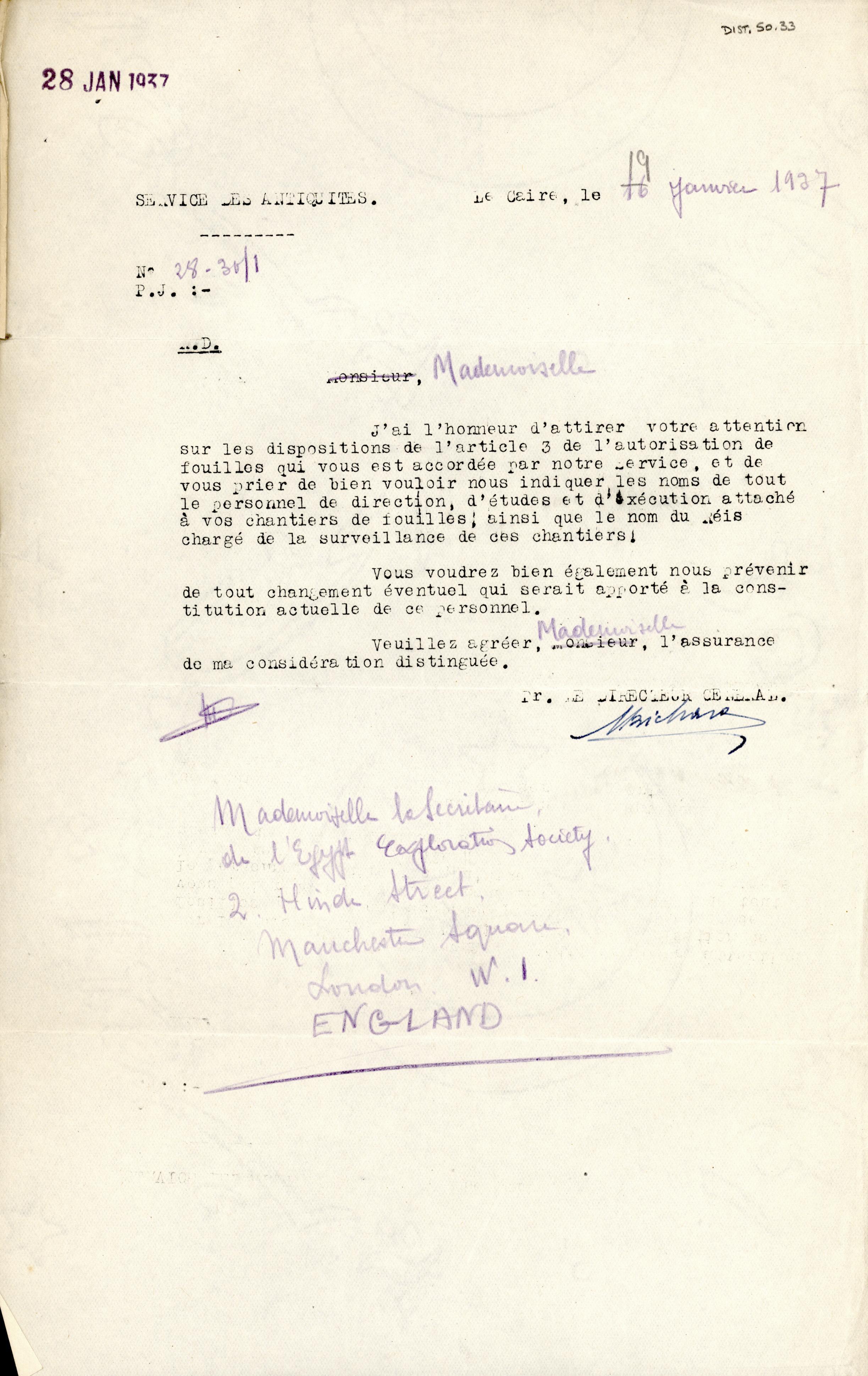 1926-39 correspondence with Antiquities Service DIST.50.33