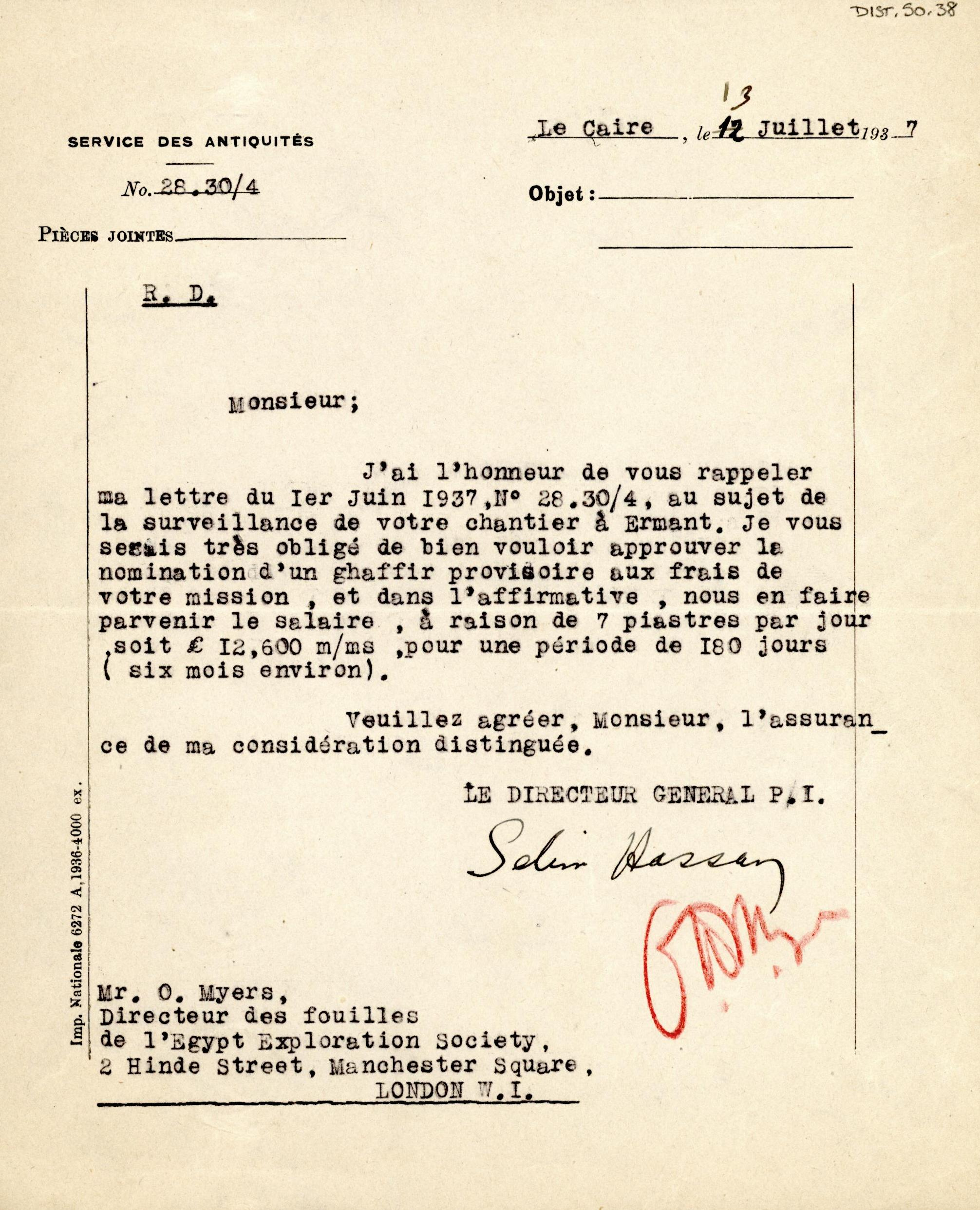 1926-39 correspondence with Antiquities Service DIST.50.38