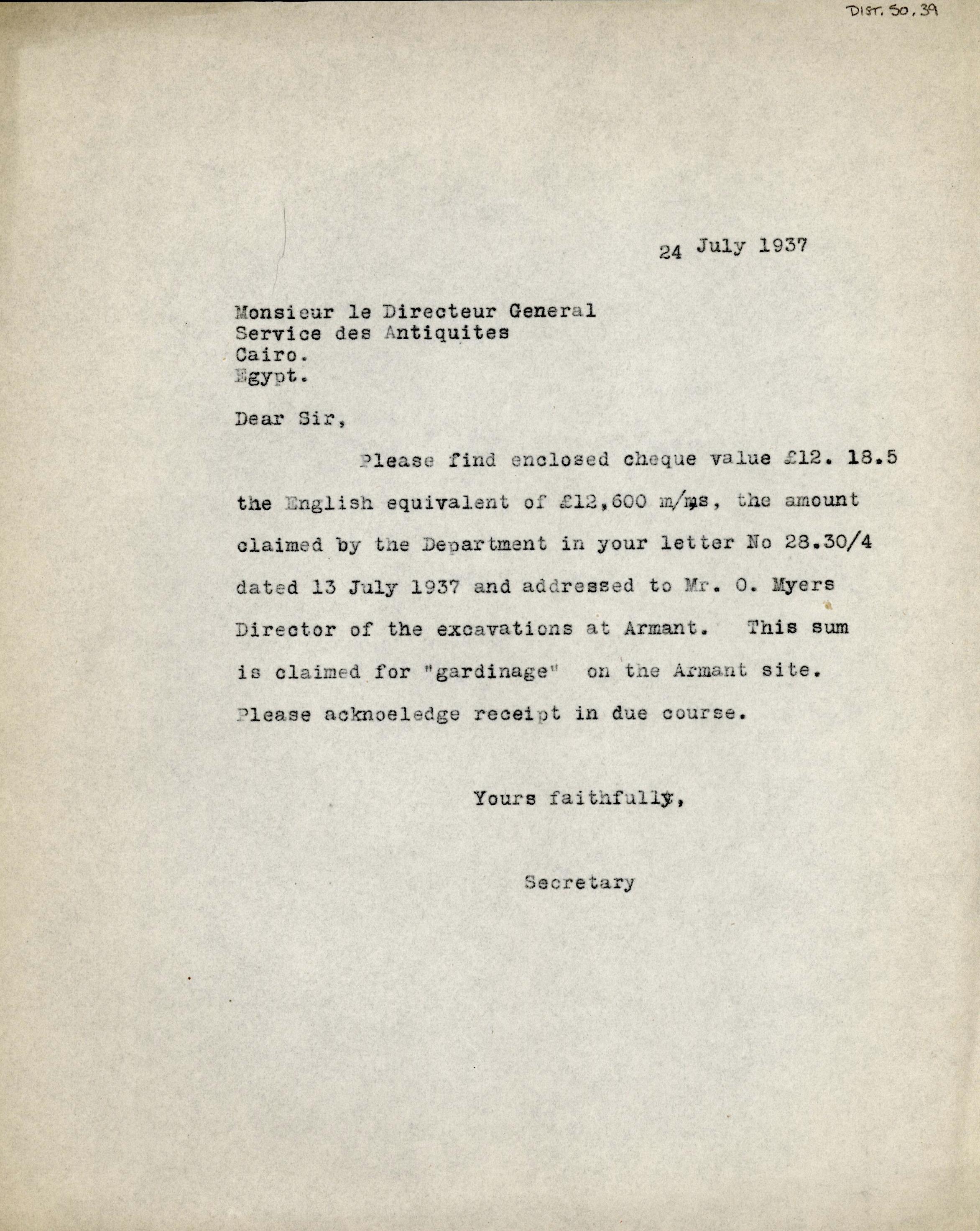 1926-39 correspondence with Antiquities Service DIST.50.39
