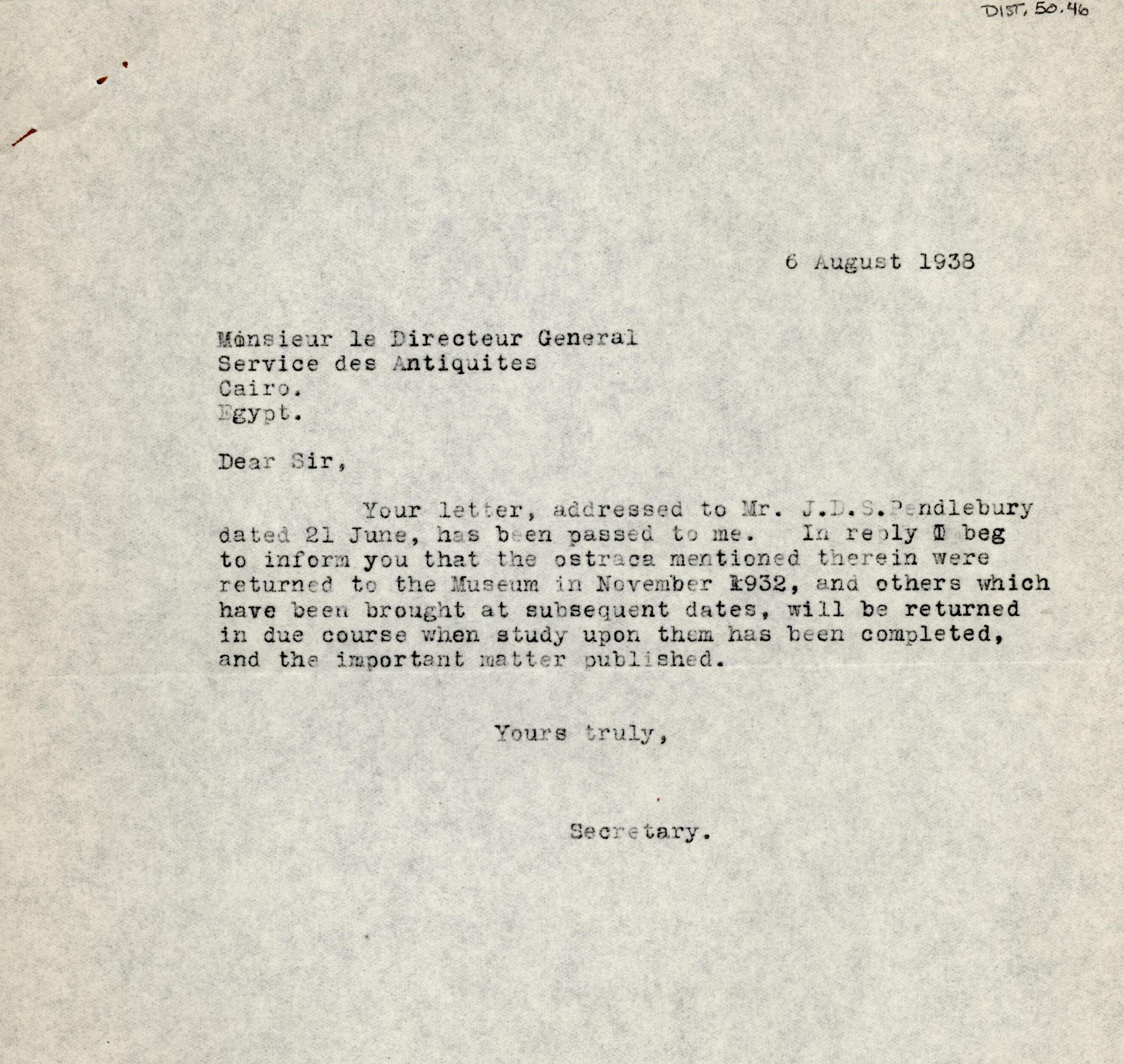 1926-39 correspondence with Antiquities Service DIST.50.46