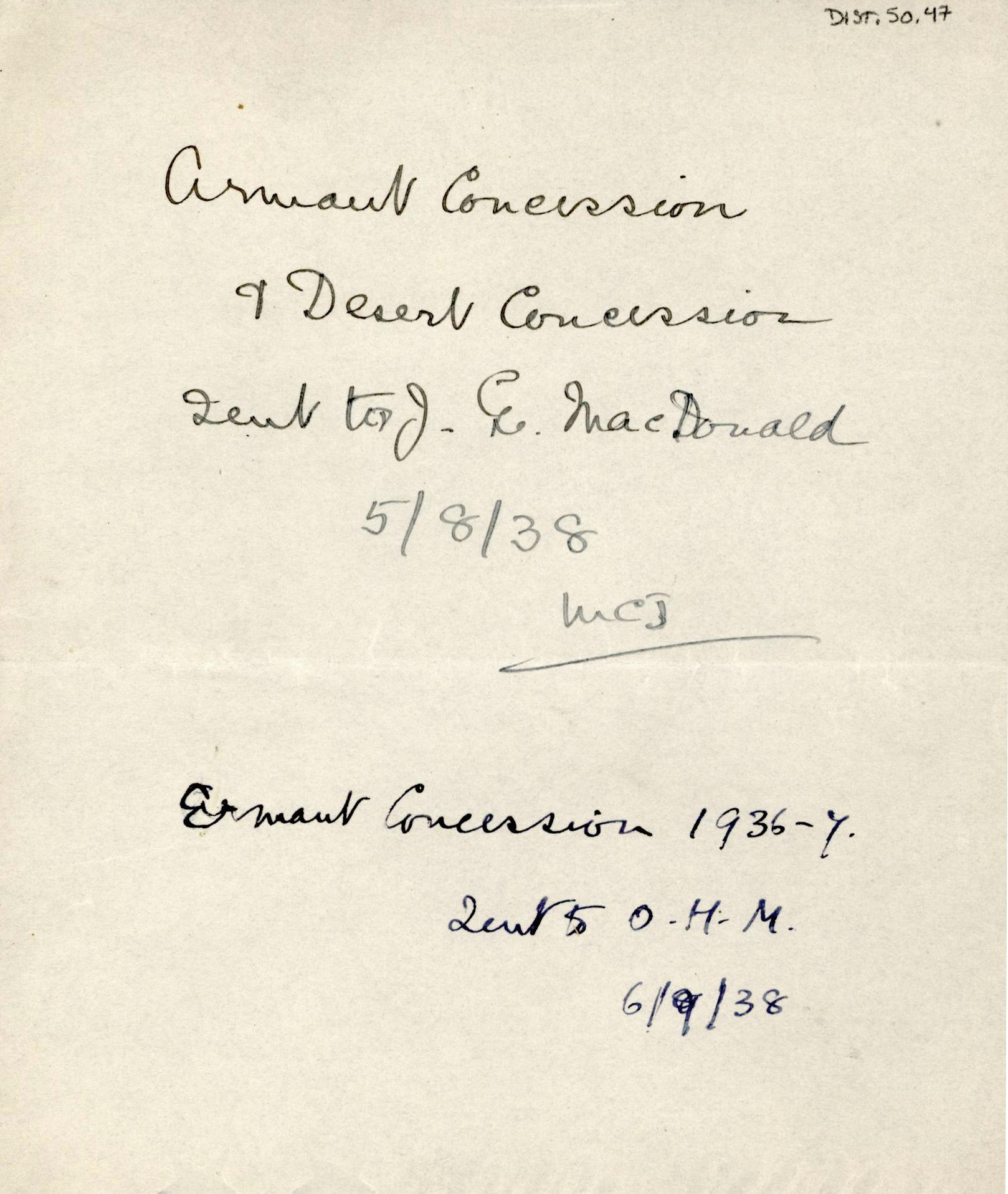 1926-39 correspondence with Antiquities Service DIST.50.47