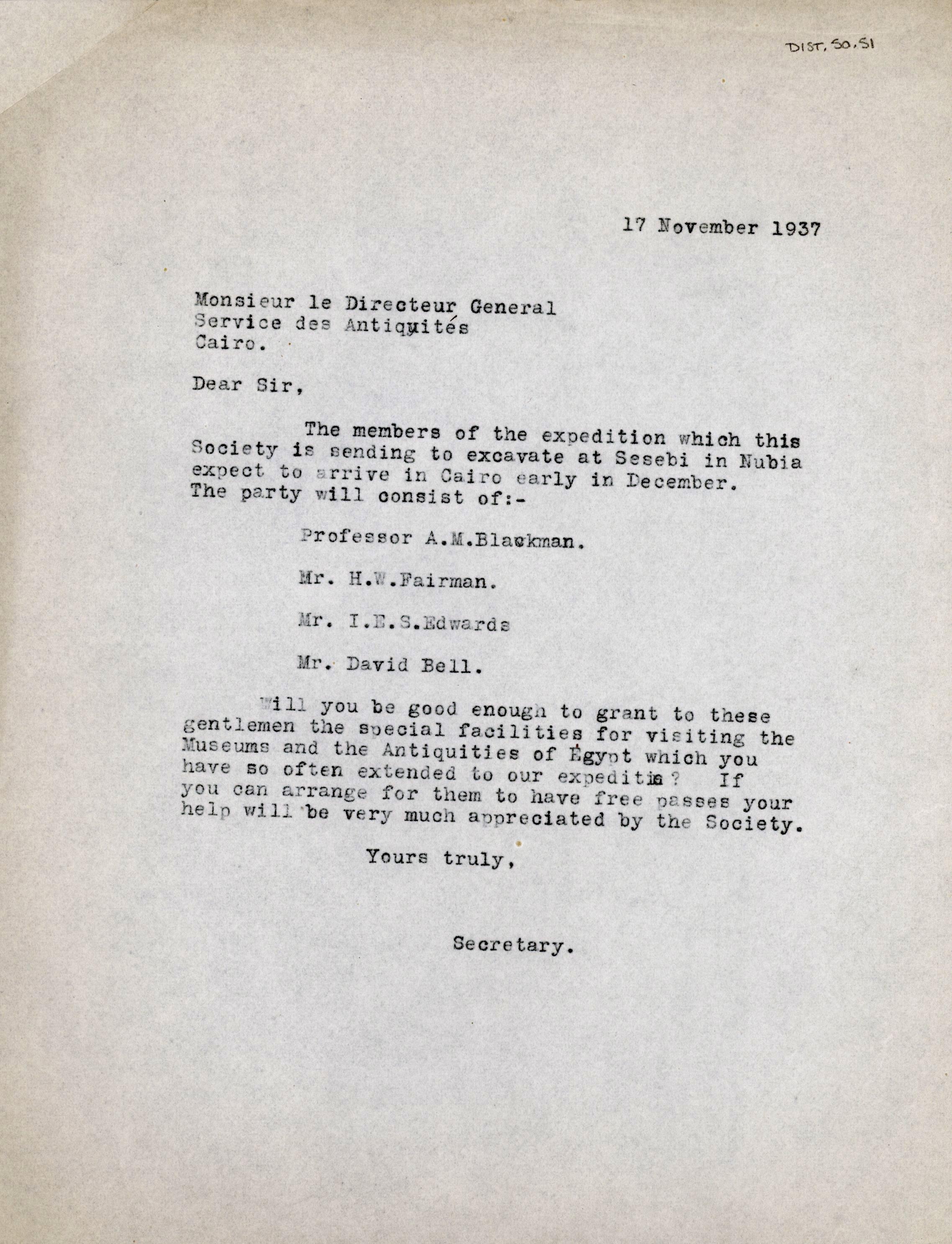 1926-39 correspondence with Antiquities Service DIST.50.51