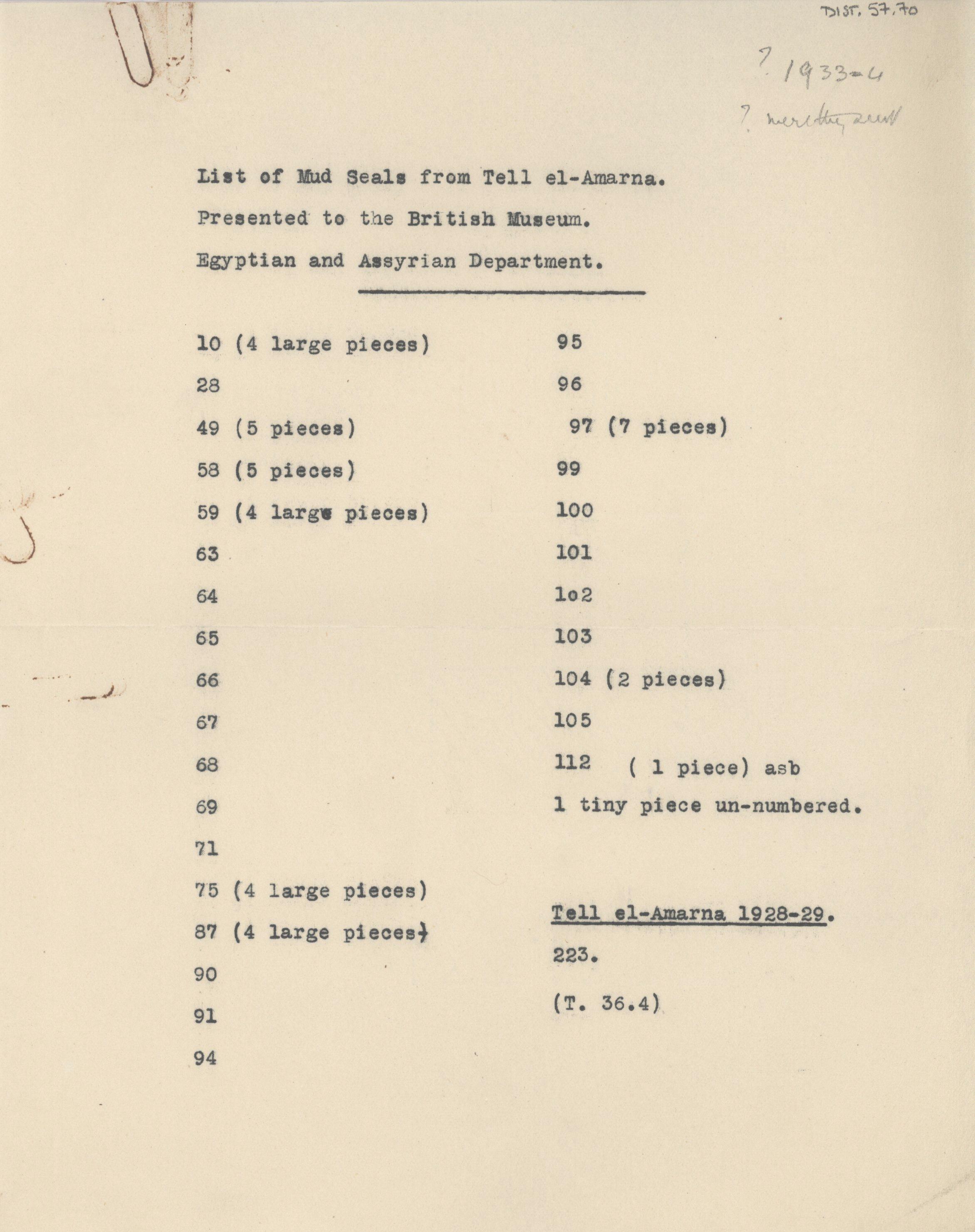 1931-34 el-Amarna DIST.57.70