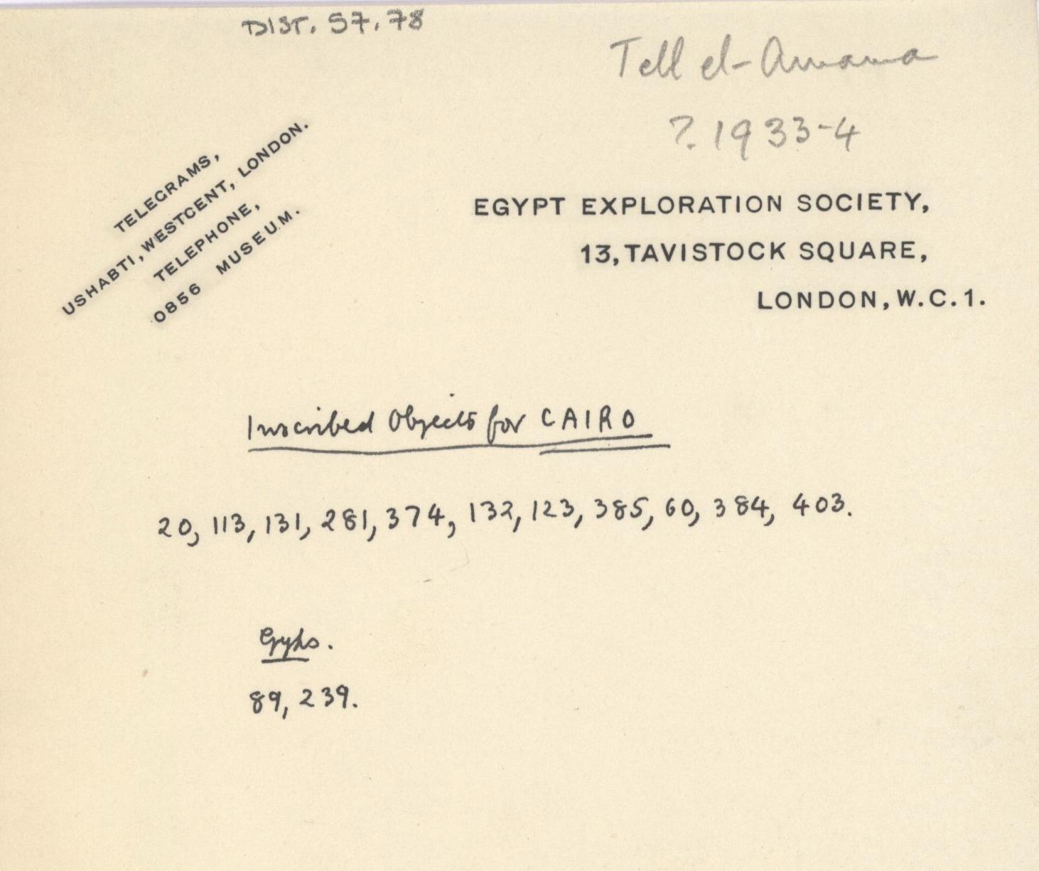 1931-34 el-Amarna DIST.57.78