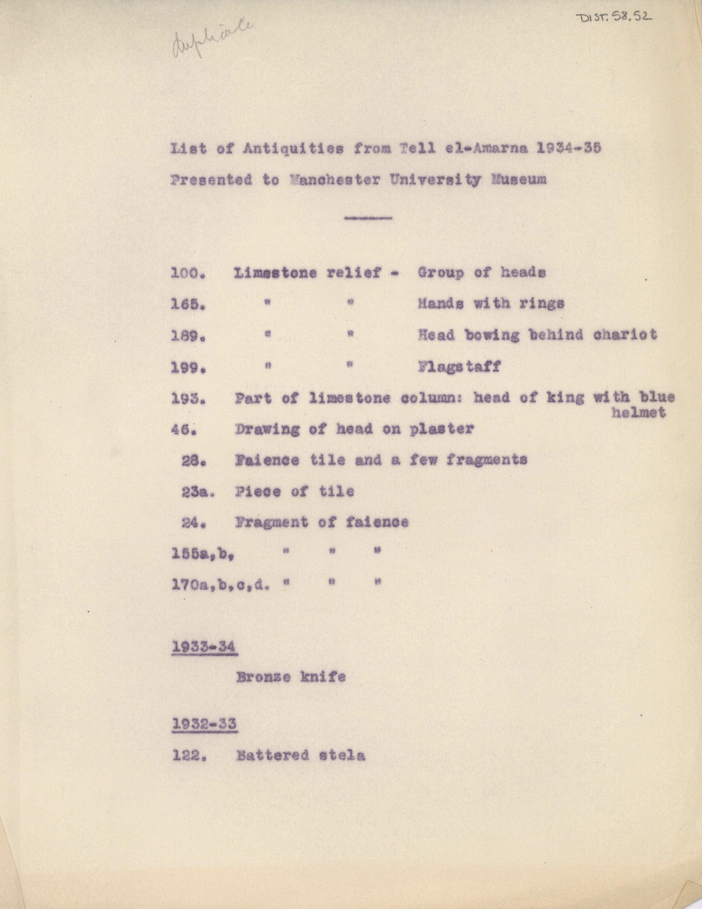 1934-35 el-Amarna DIST.58.52