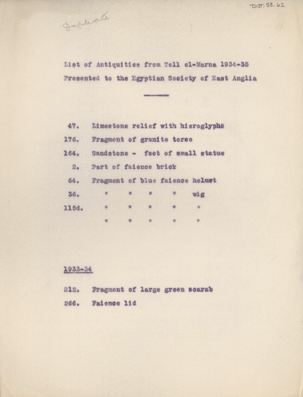 1934-35 el-Amarna DIST.58.62