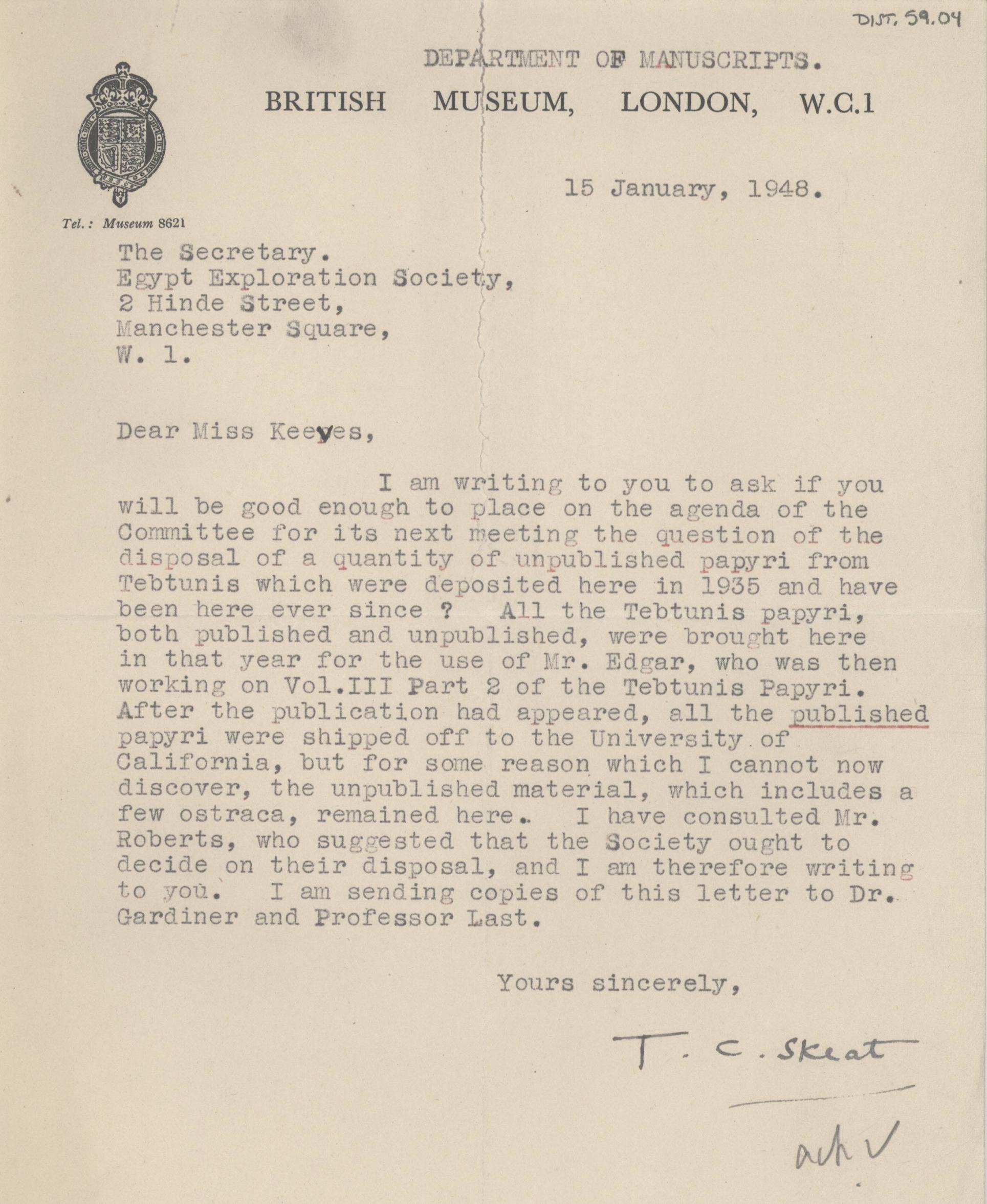 1934-38 Tebtunis papyri correspondence DIST.59.04
