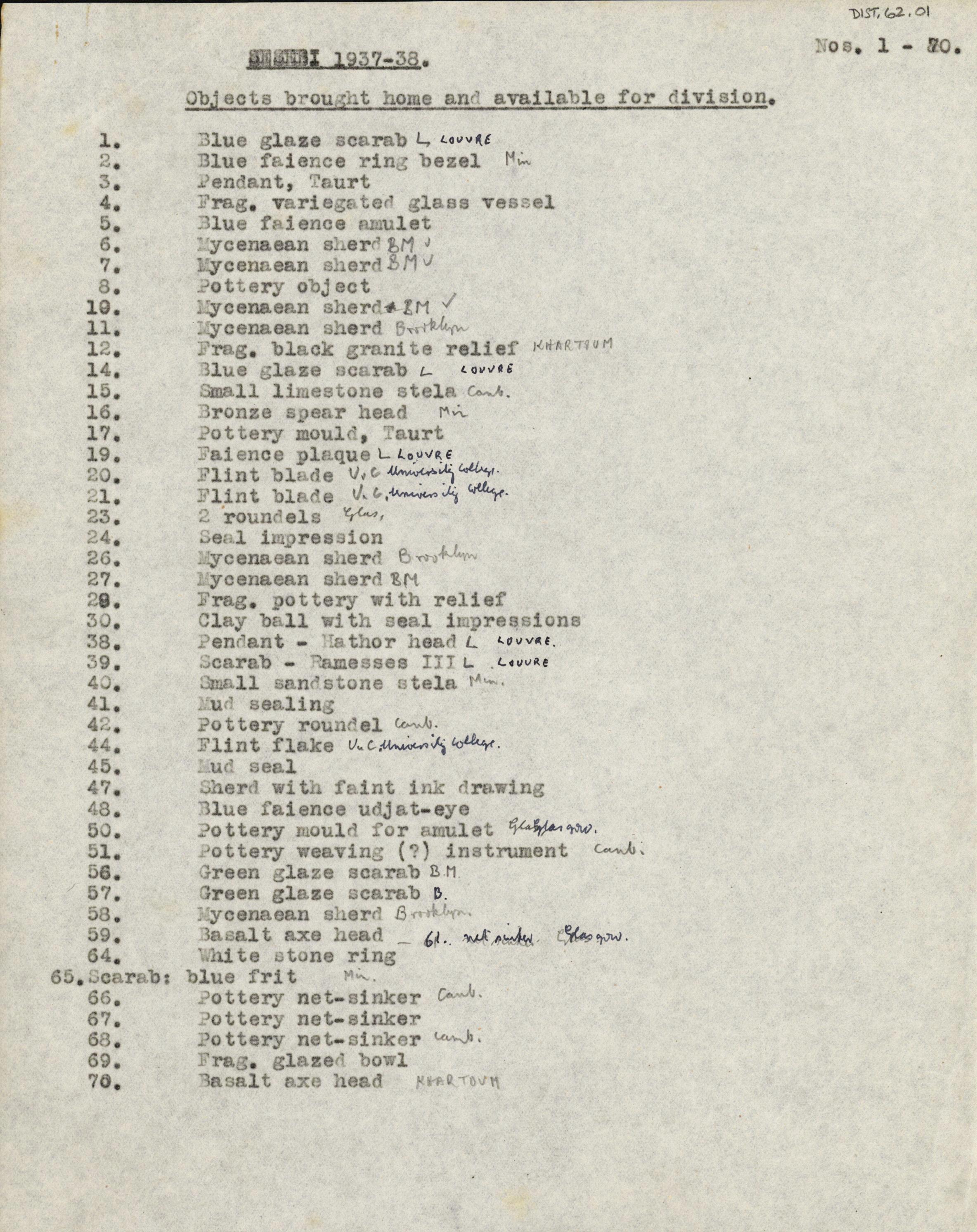 1936-38 Amarah West, Sesebi DIST.62.01a