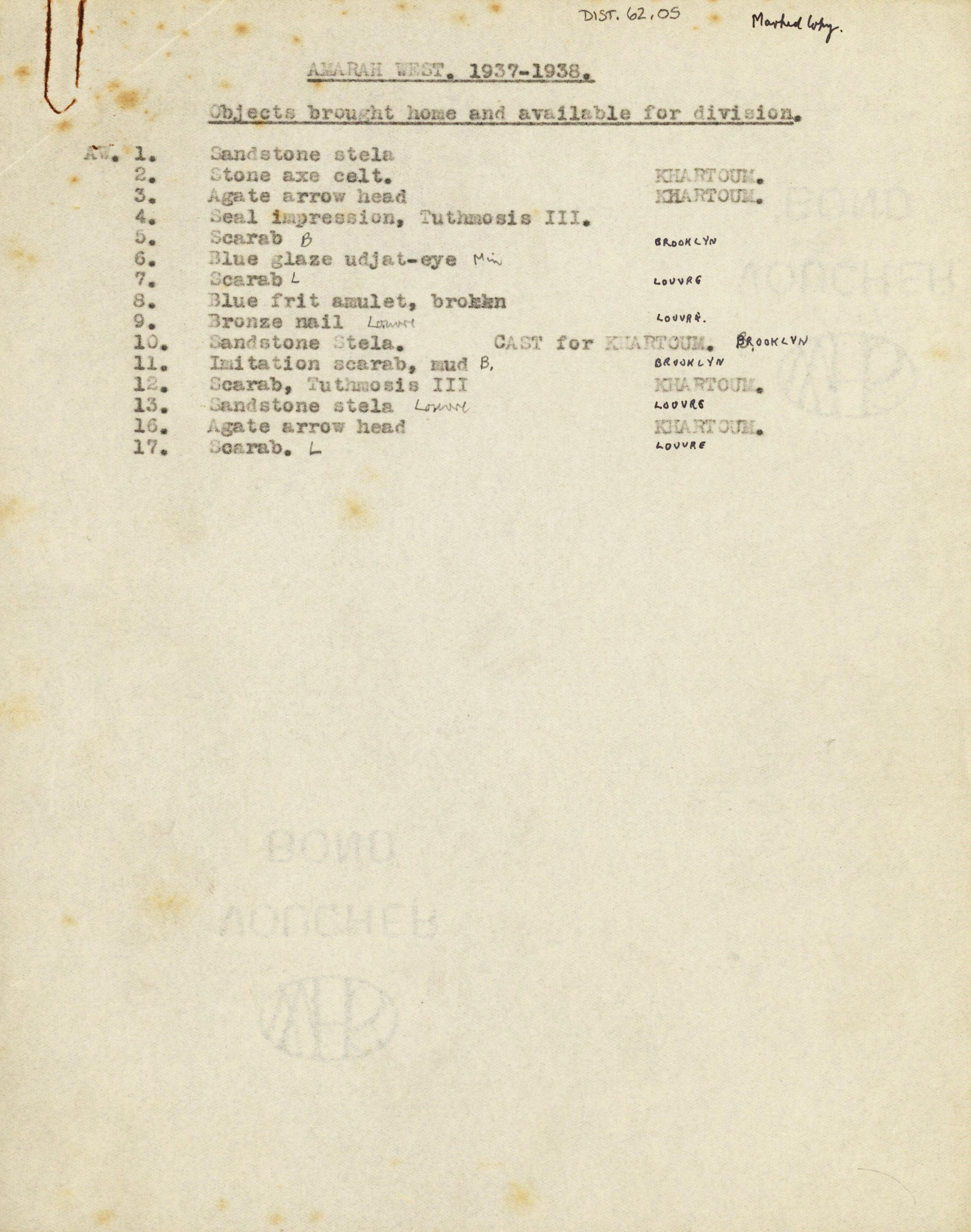 1936-38 Amarah West, Sesebi DIST.62.05